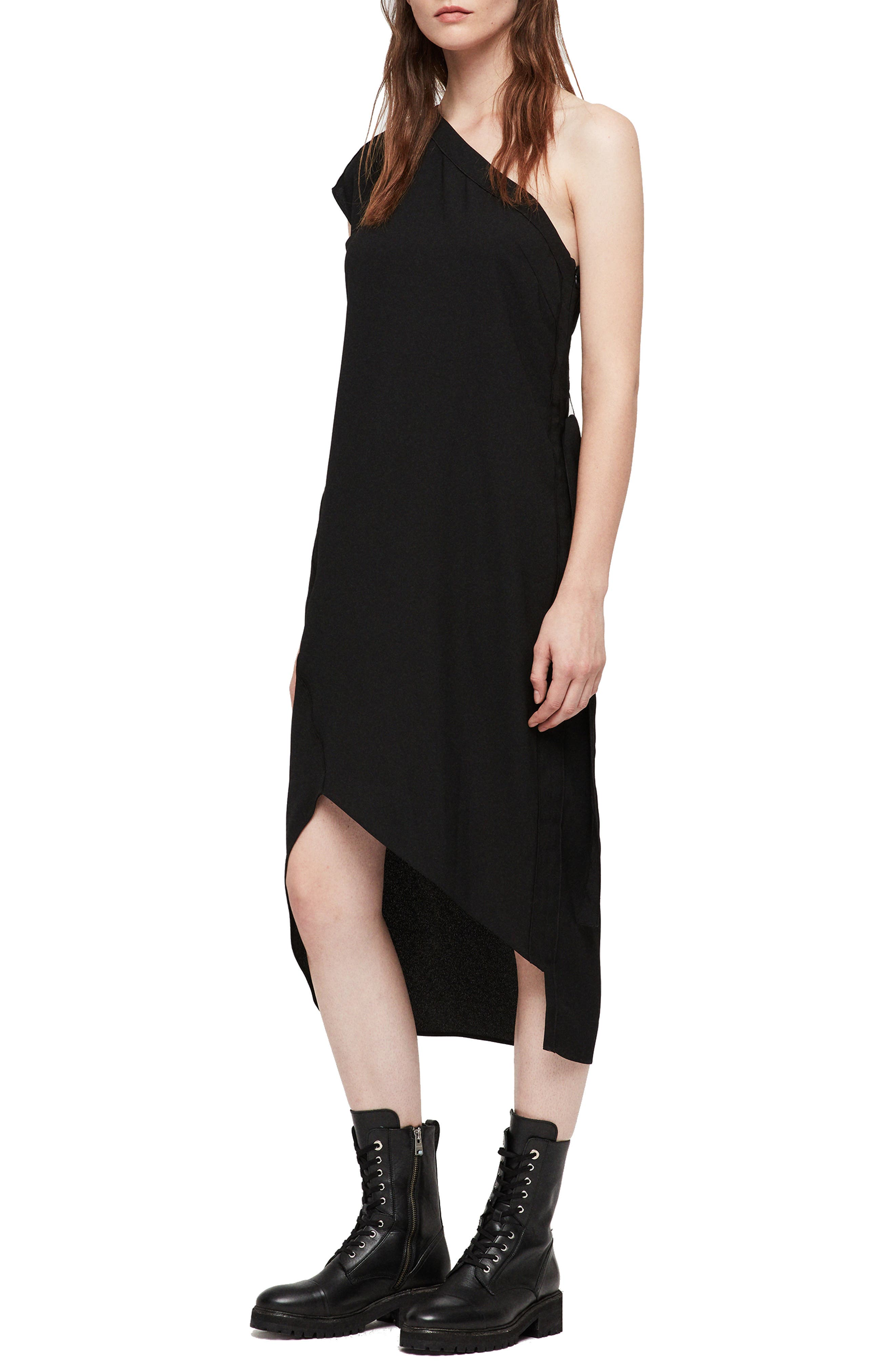 Luana One-Shoulder Dress,                             Main thumbnail 1, color,                             001