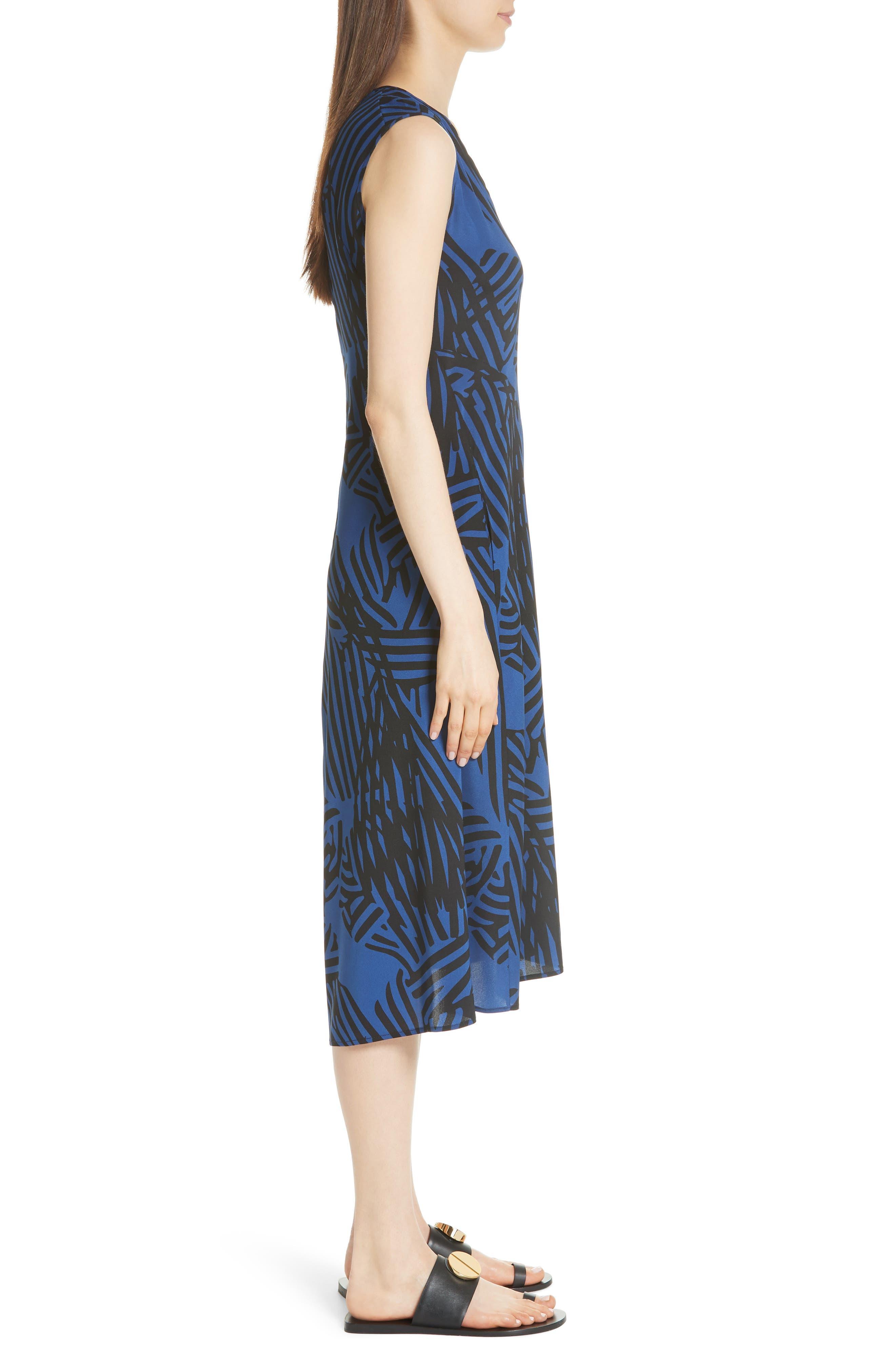 Ribbon Print Stretch Silk Dress,                             Alternate thumbnail 3, color,                             400
