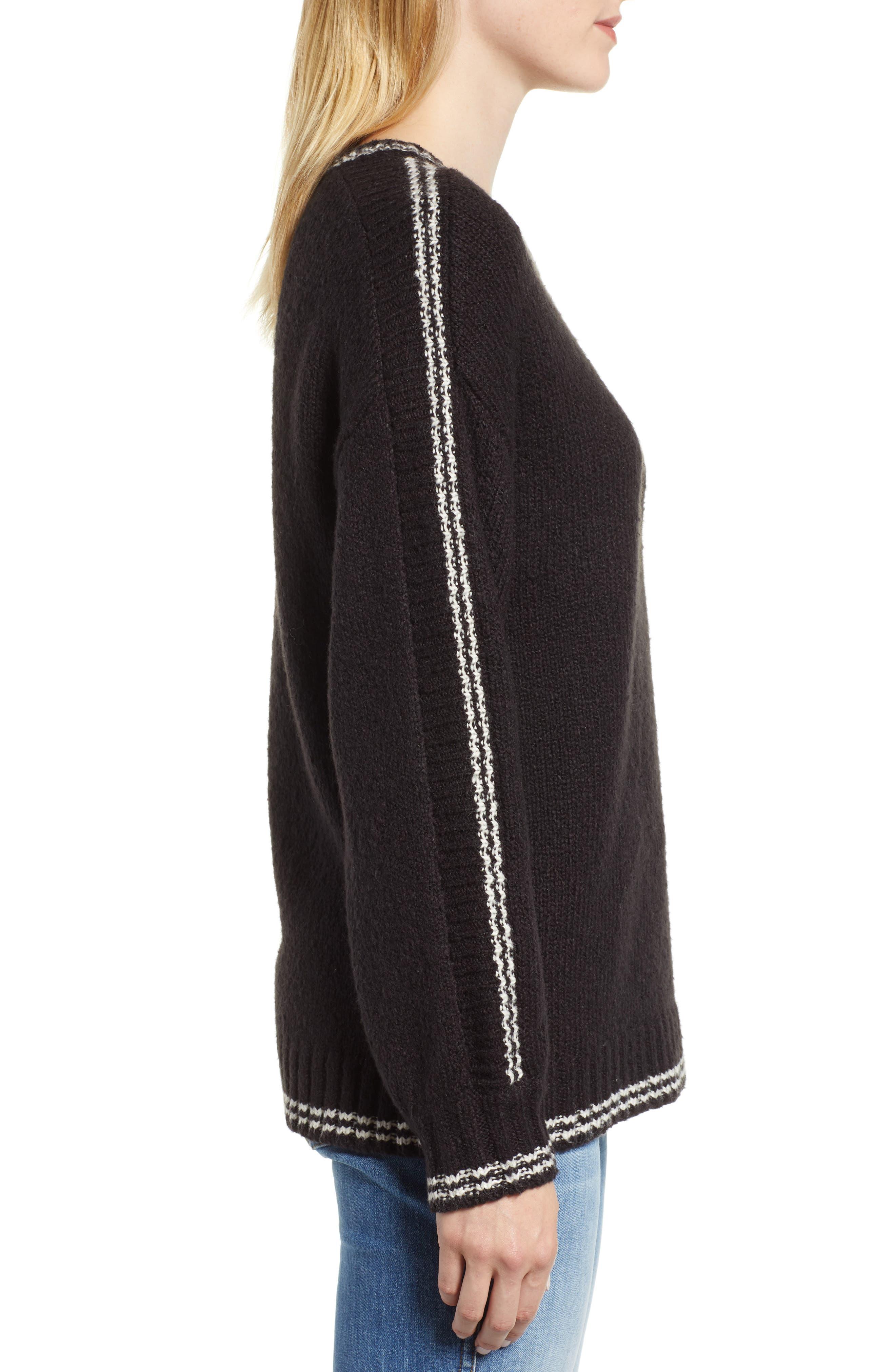 Stripe Sleeve Cotton Blend Sweater,                             Alternate thumbnail 3, color,                             BLACK