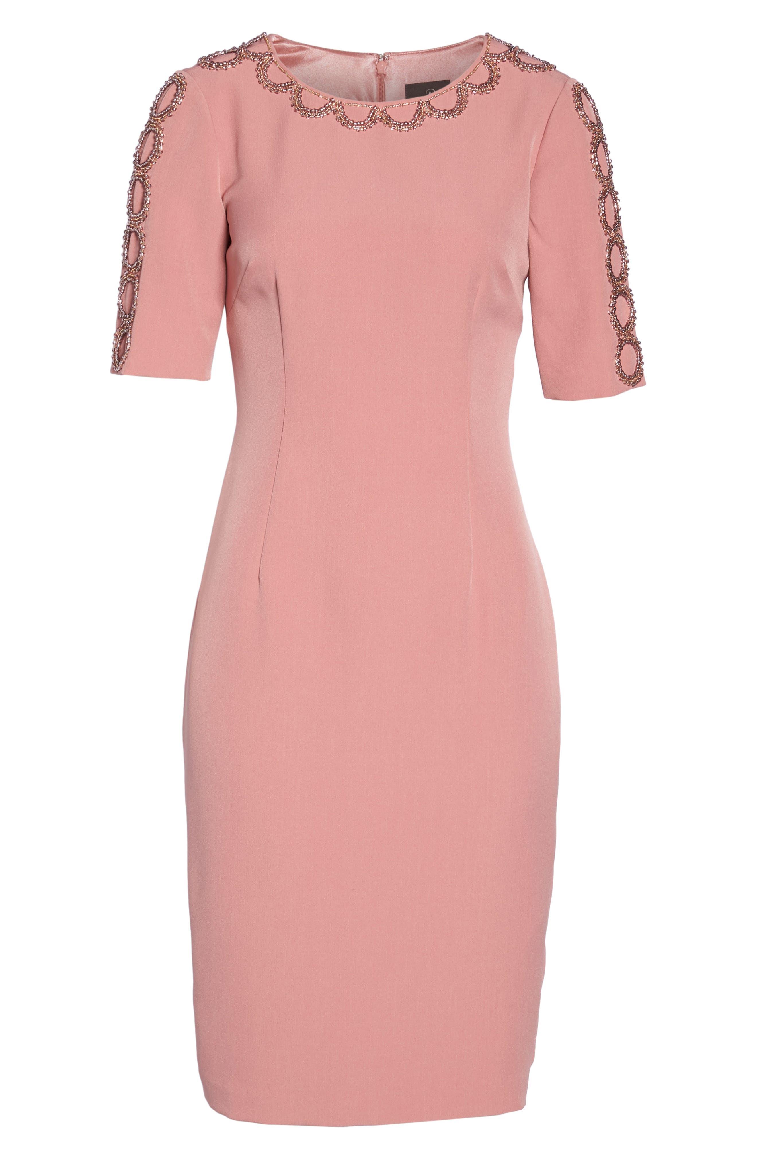Embellished Sheath Dress,                             Alternate thumbnail 6, color,