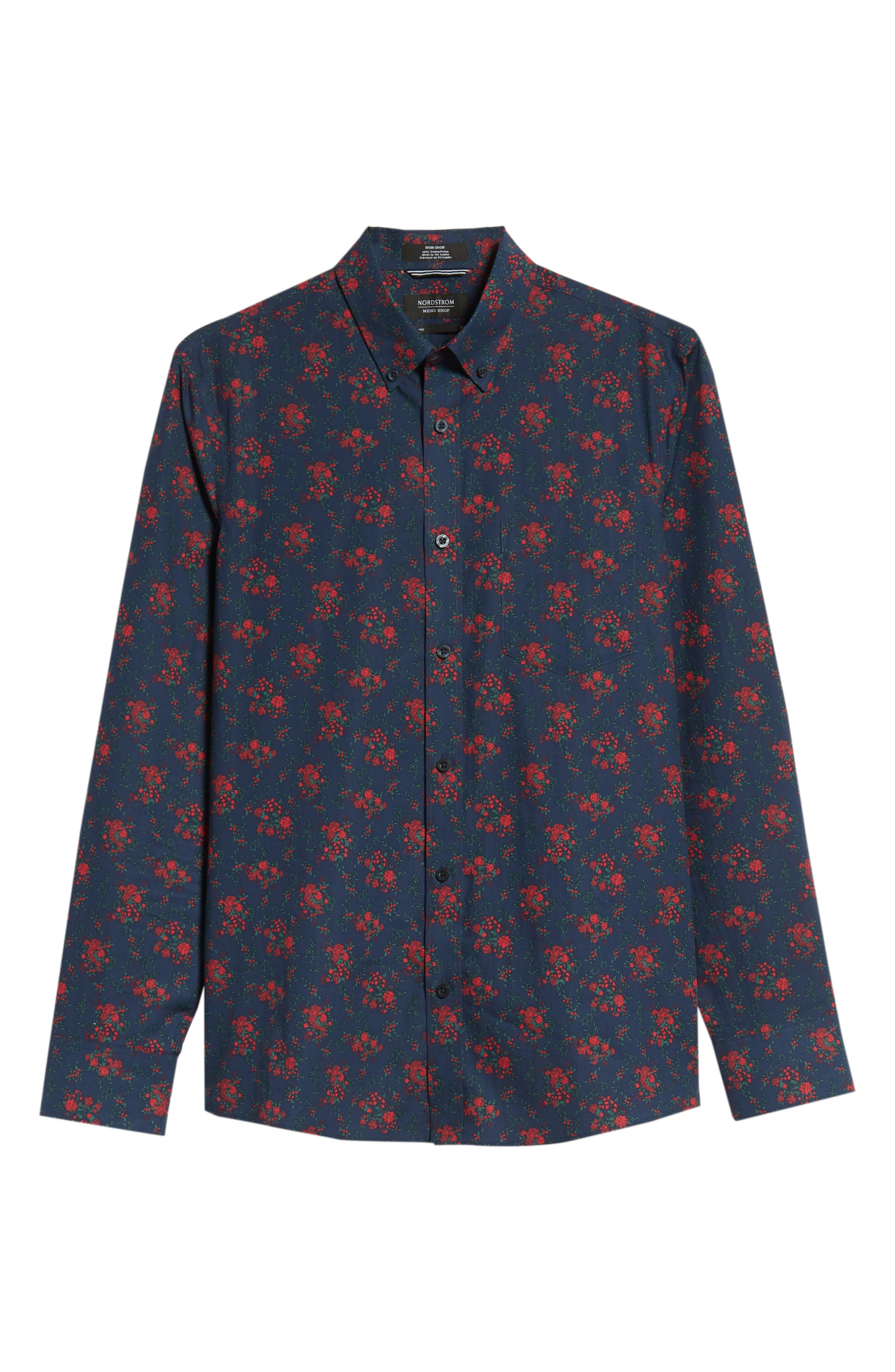 Slim Fit Print No-Iron Sport Shirt,                             Alternate thumbnail 5, color,                             NAVY NIGHT RED FLORAL
