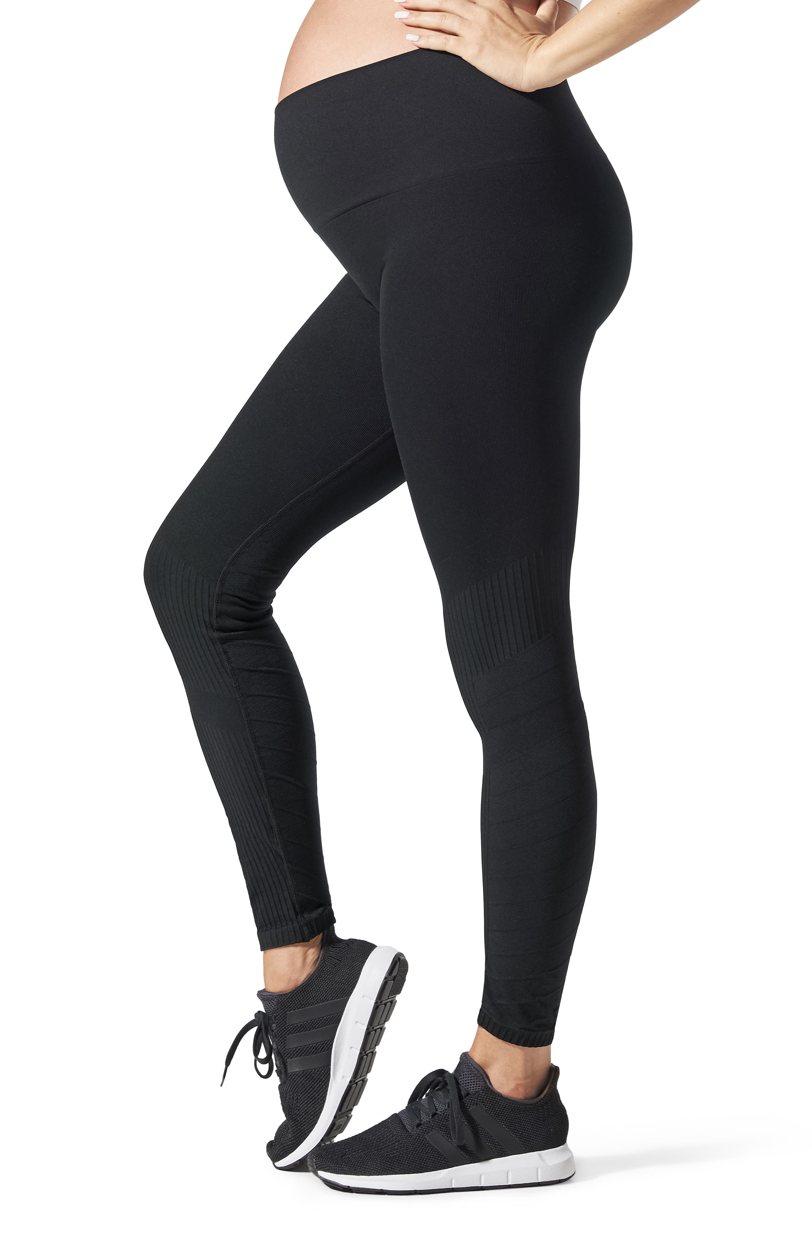 SportSupport<sup>®</sup> Hipster Contour Support Maternity/Postpartum Leggings,                         Main,                         color, BLACK