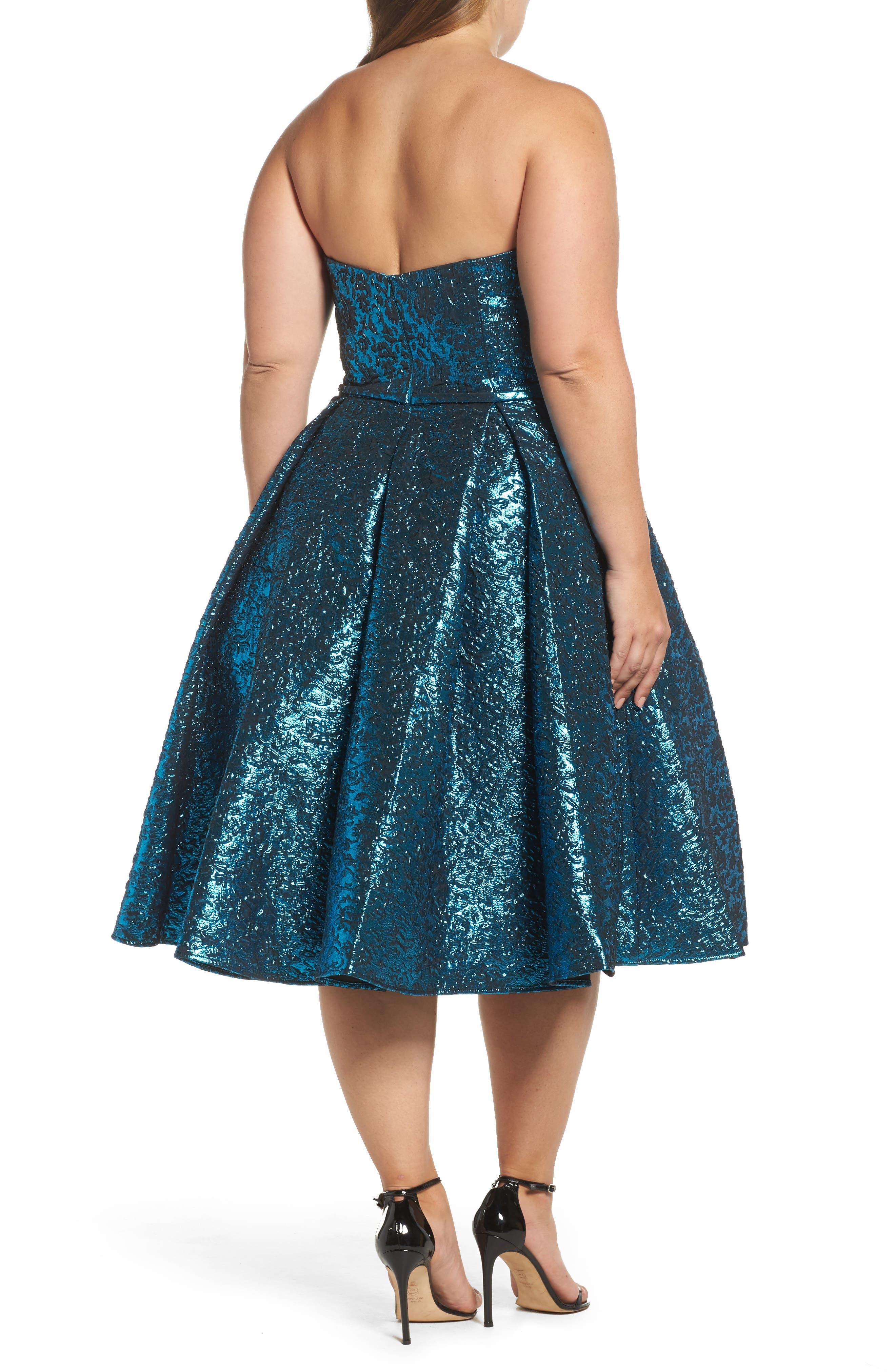 Metallic Fit & Flare Dress,                             Alternate thumbnail 2, color,                             TURQUOISE