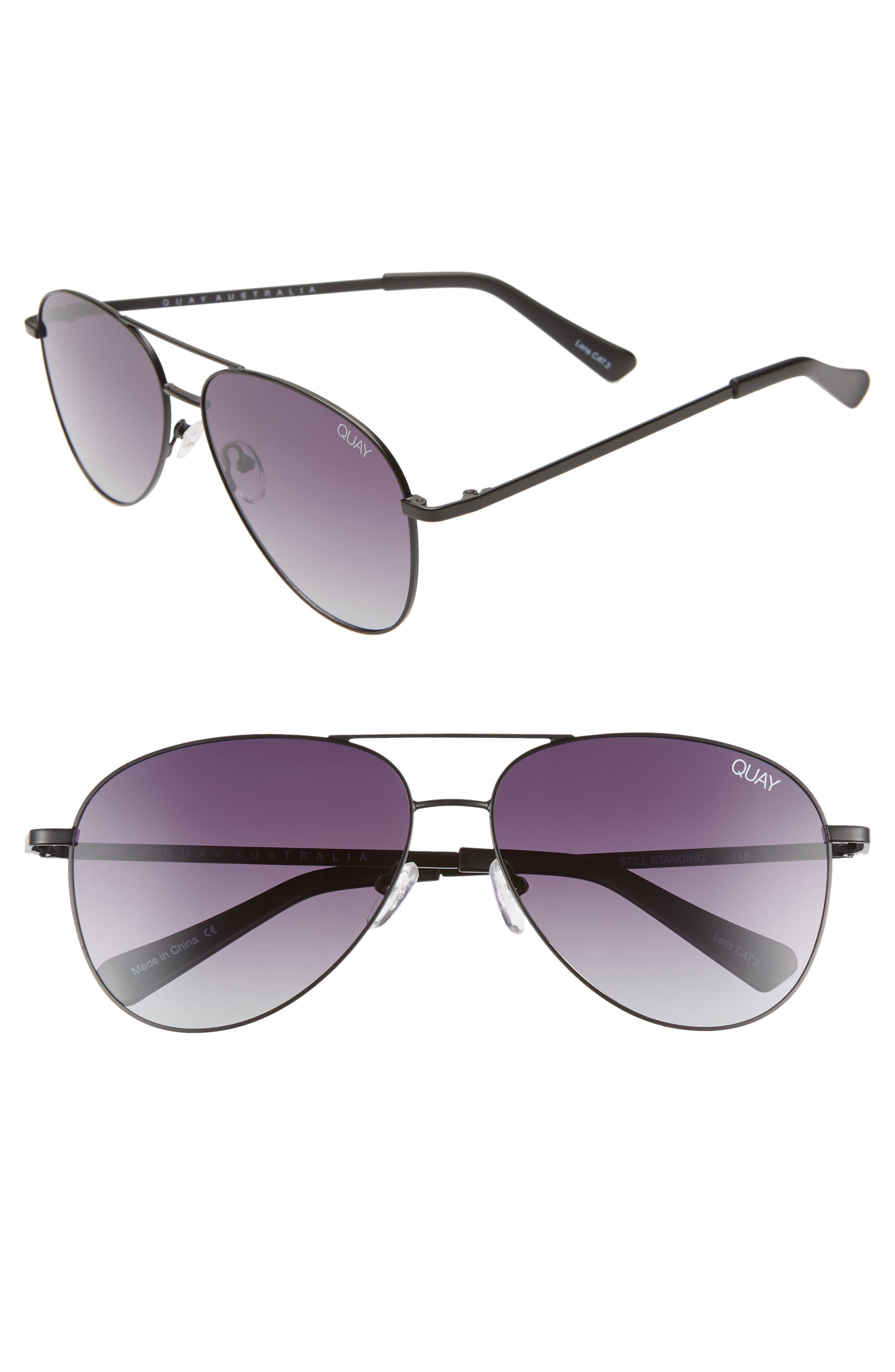 Still Standing 60mm Aviator Sunglasses,                             Main thumbnail 1, color,                             BLACK / SMOKE LENS