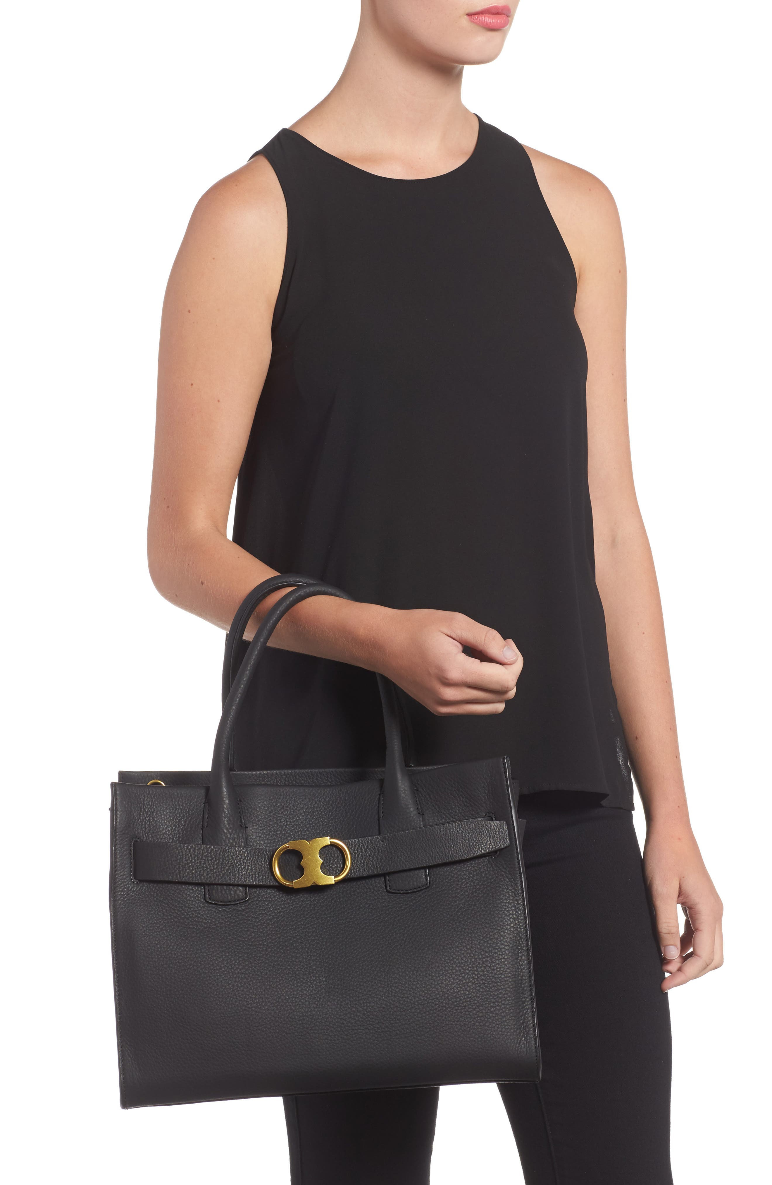 TORY BURCH,                             Gemini Link Leather Tote,                             Alternate thumbnail 2, color,                             001