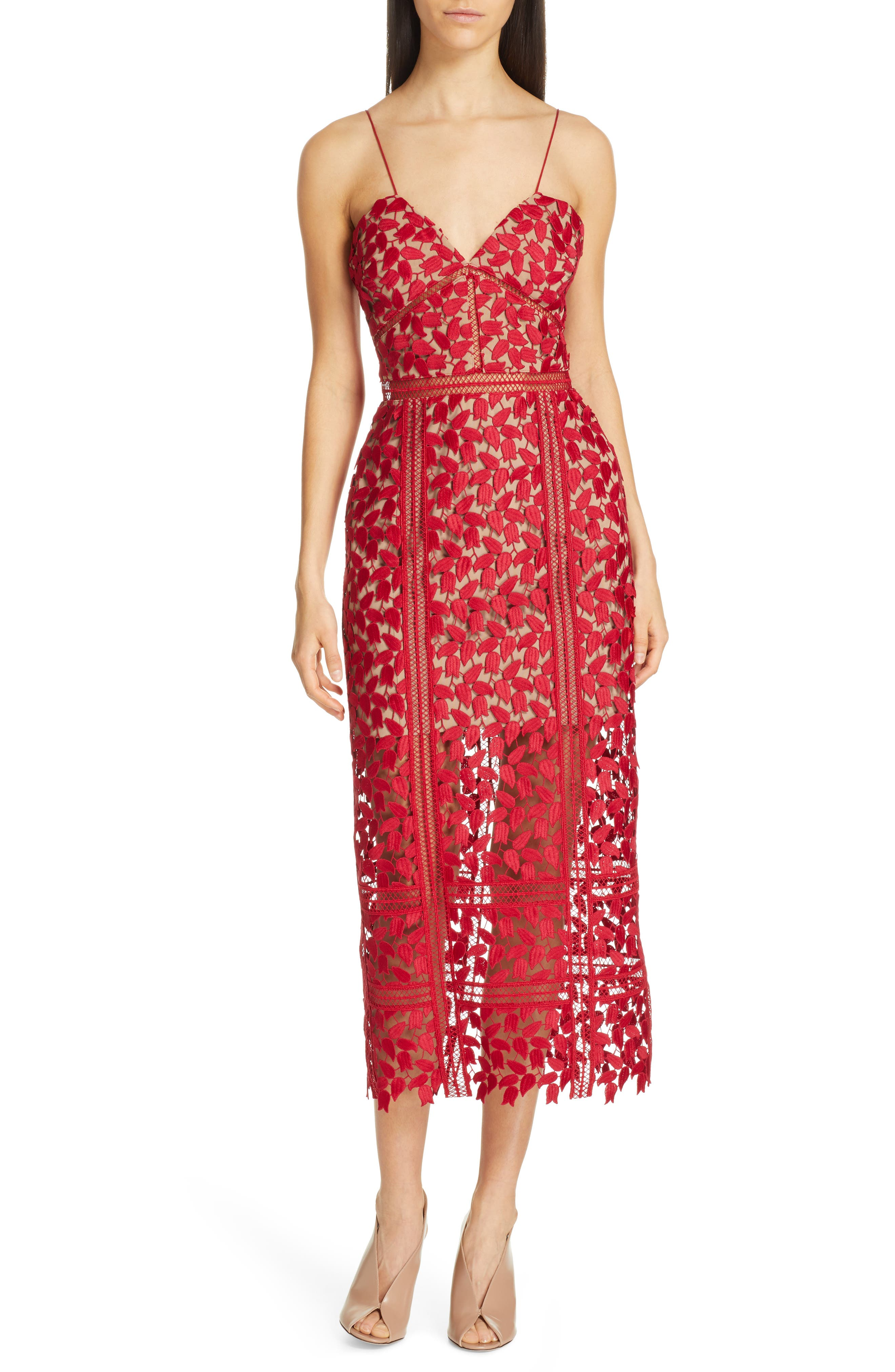 77e012a60f2 Self-Portrait Arabella Lace Midi Dress In Dark Red