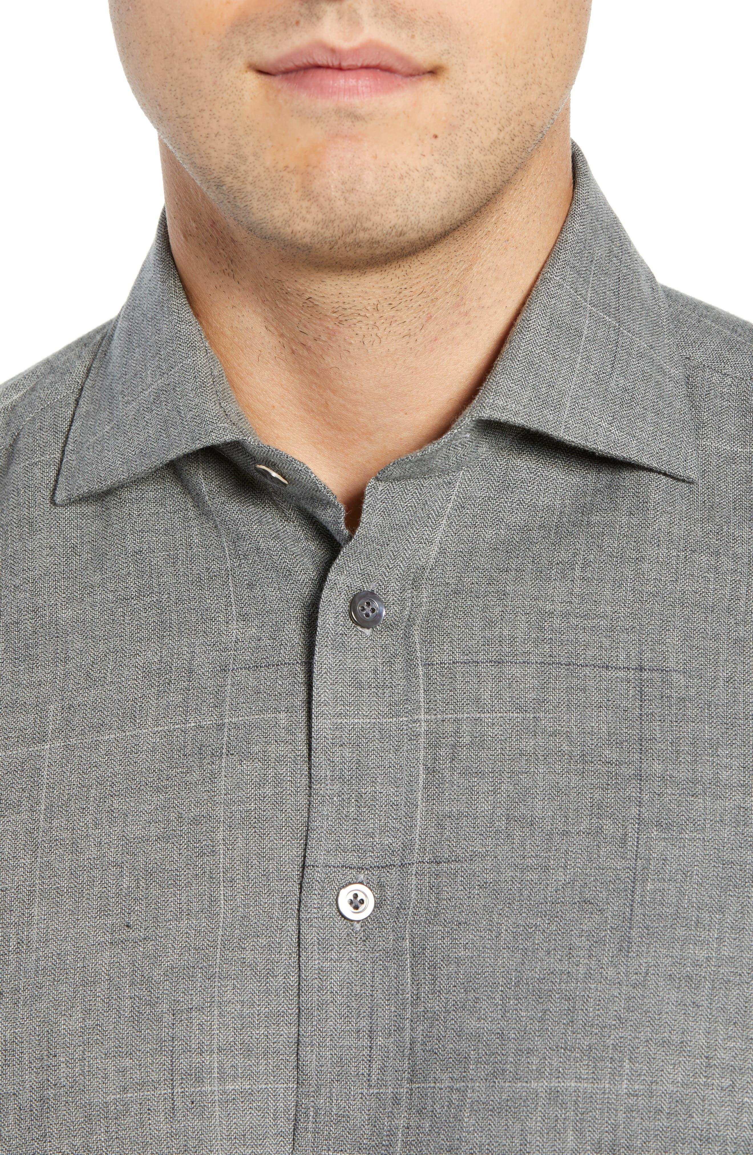 Slim Fit Herringbone Dress Shirt,                             Alternate thumbnail 2, color,                             GREY