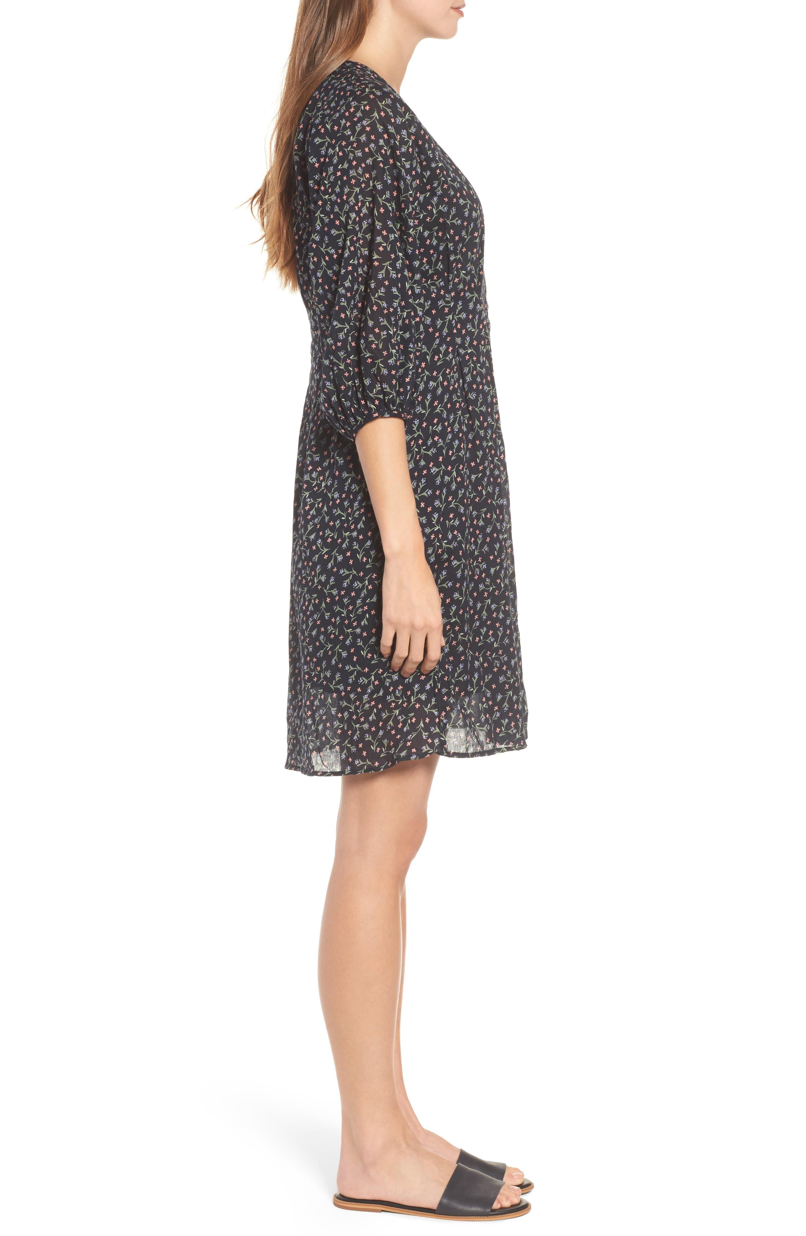 Printed Cotton Voile Dress,                             Alternate thumbnail 3, color,                             005
