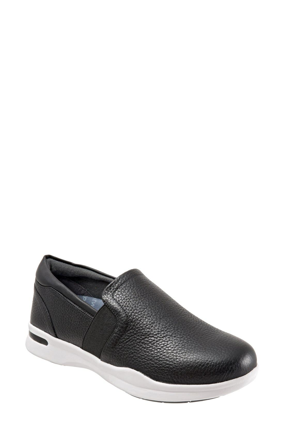 SOFTWALK<SUP>®</SUP>,                             'Vantage' Slip-On Sneaker,                             Main thumbnail 1, color,                             BLACK / WHITE LEATHER