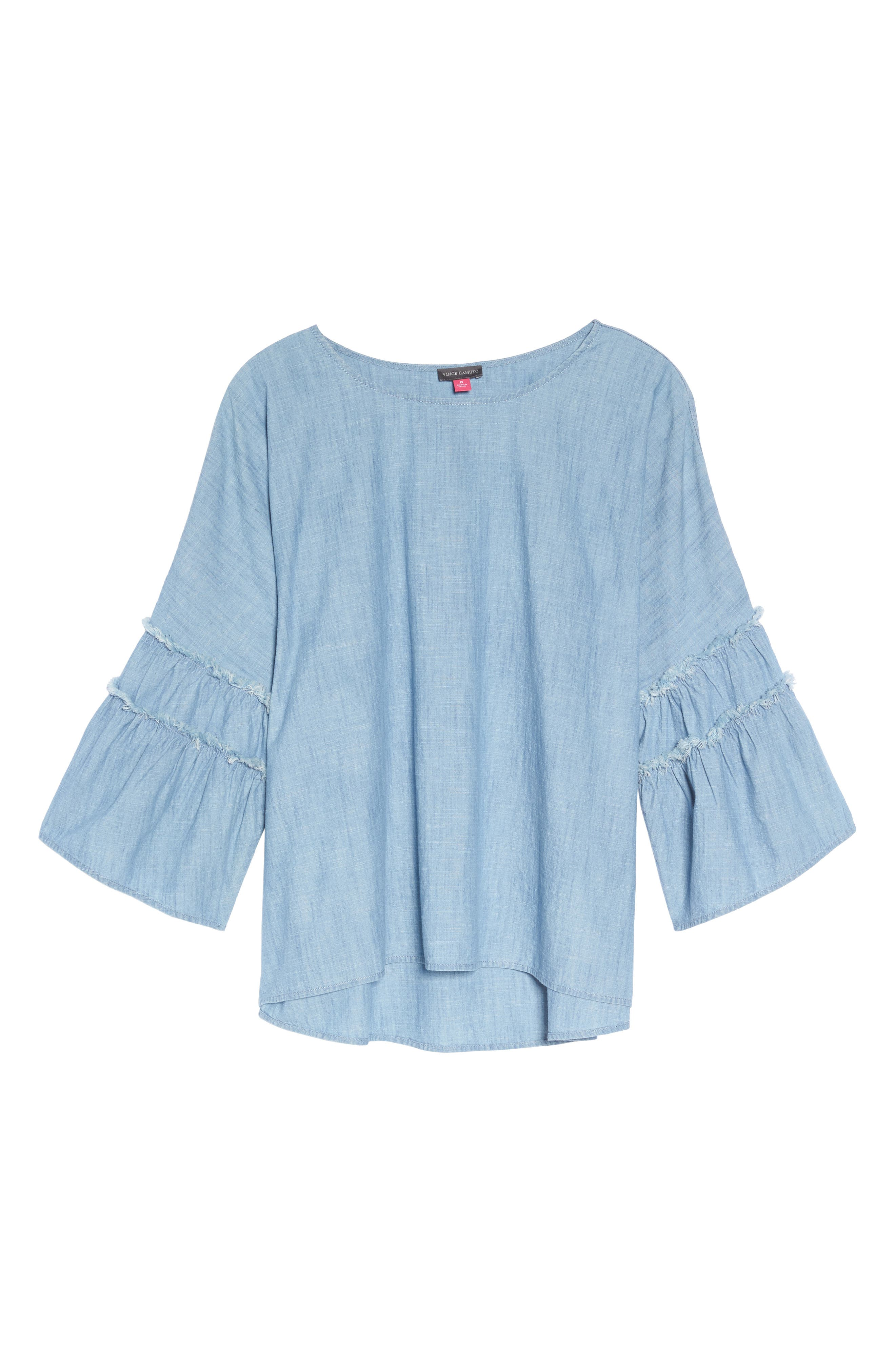 Ruffle Sleeve Chambray Blouse,                             Alternate thumbnail 6, color,                             ICE LAGOON