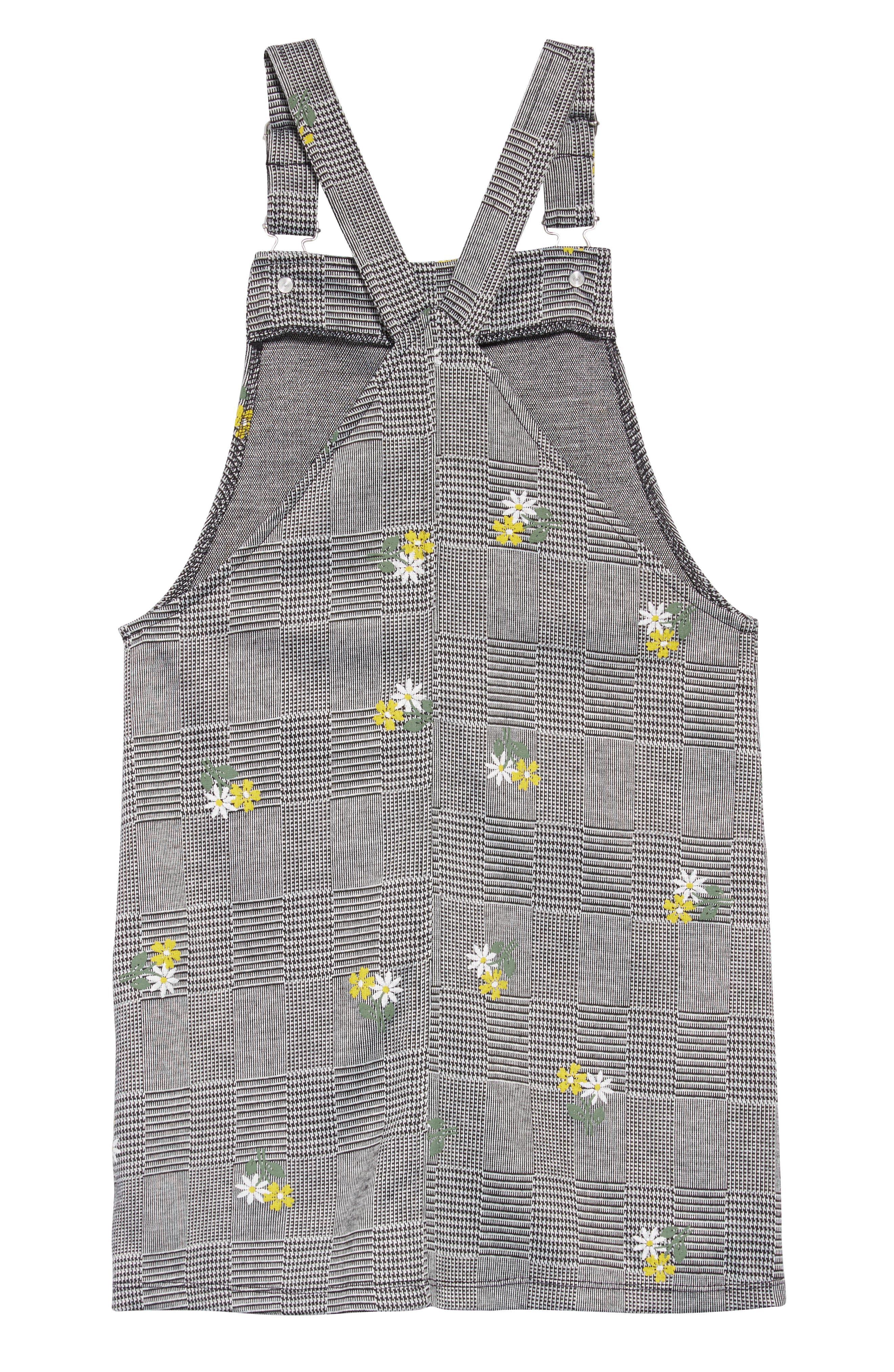 Embroidered Plaid Jumper,                             Alternate thumbnail 2, color,                             BLACK/ WHITE PLAID