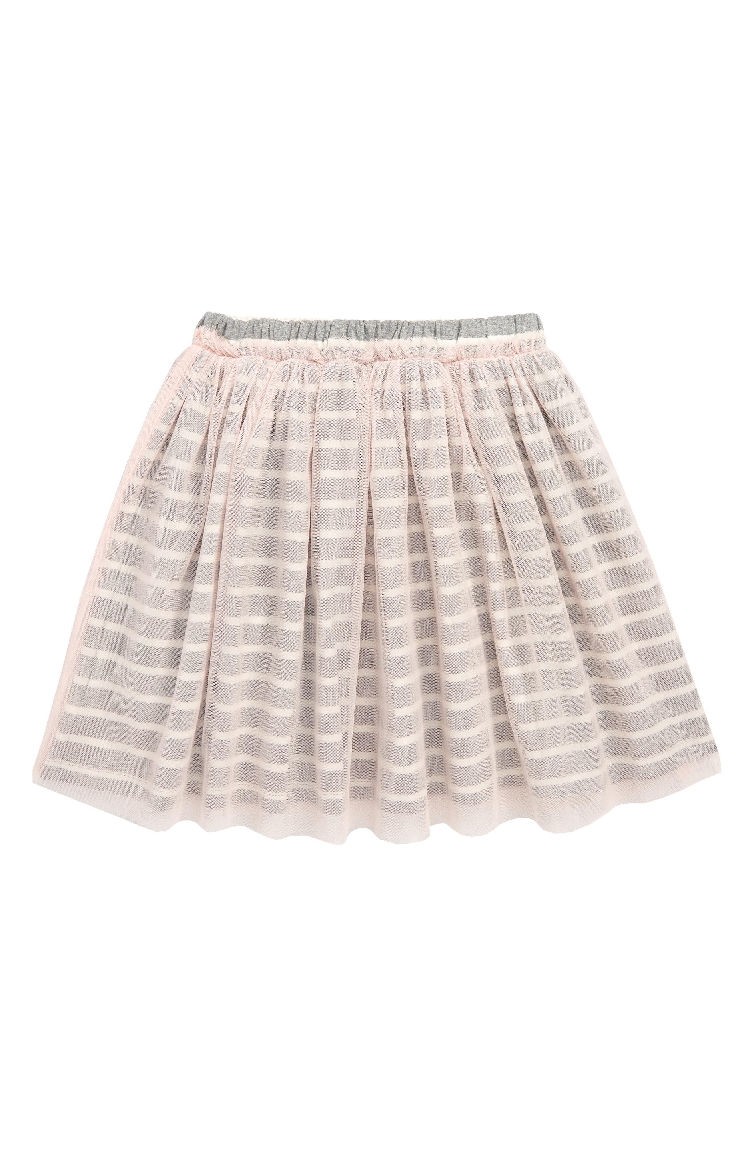 Stripe Tulle Skirt,                         Main,                         color, ROSADA