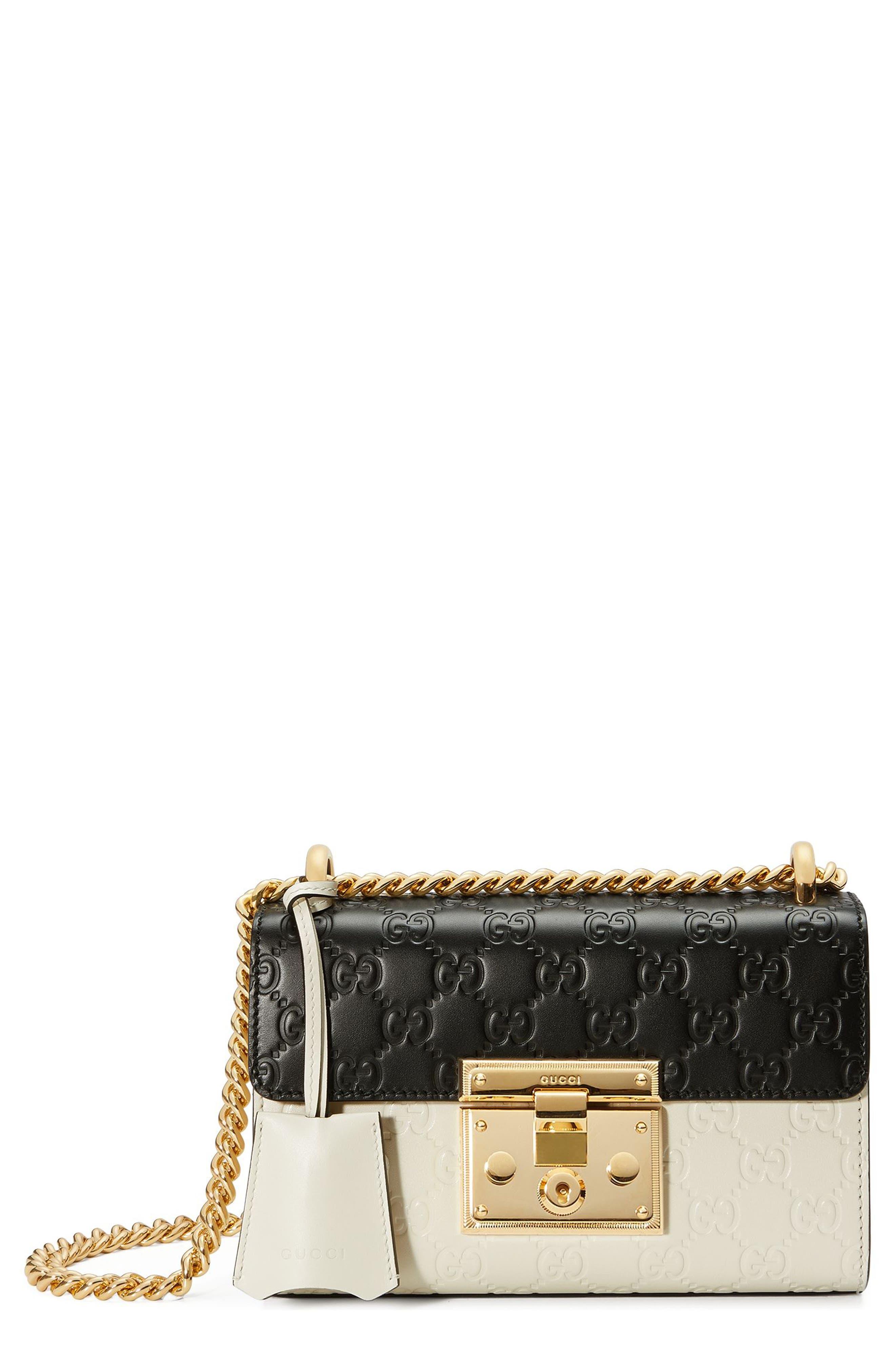 Small Padlock Signature Leather Shoulder Bag,                             Main thumbnail 1, color,                             100