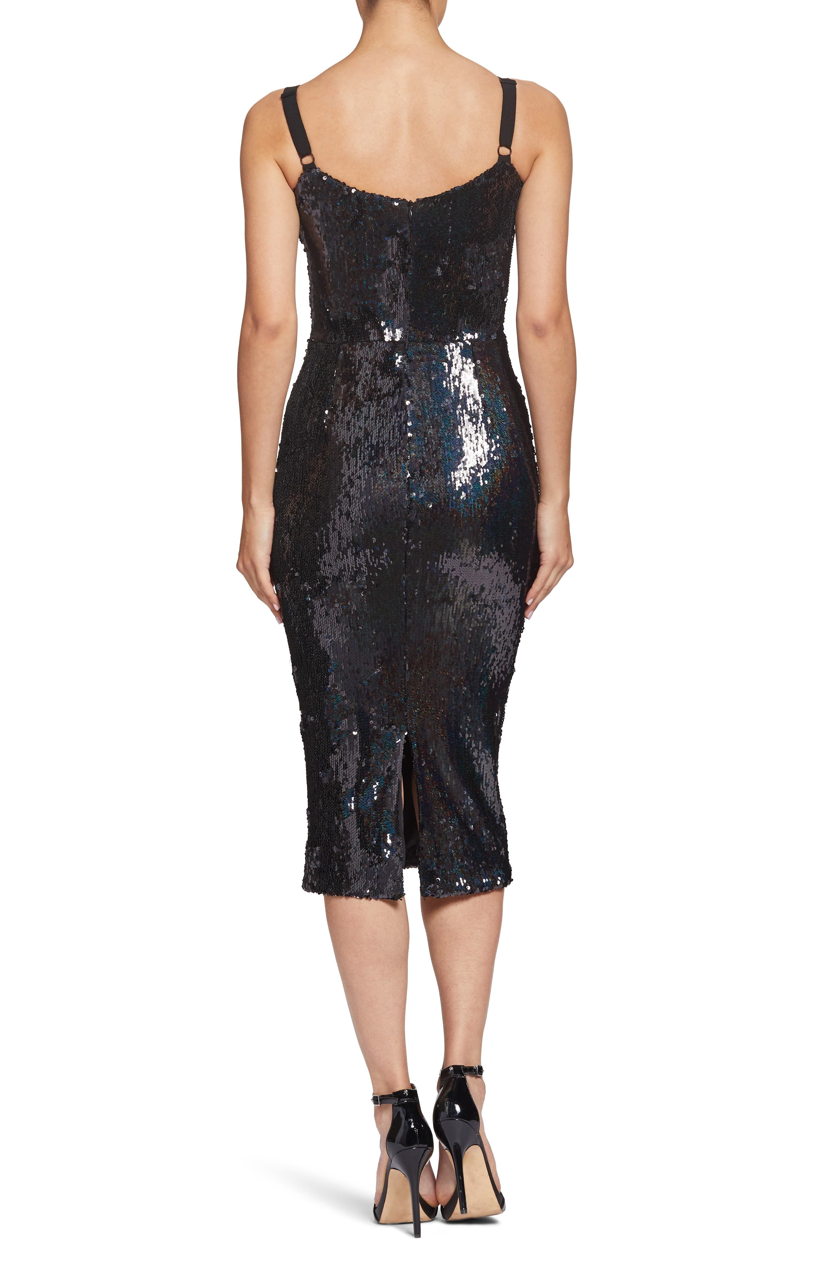 Lynda High Shine Sequin Cocktail Sheath Dress,                             Alternate thumbnail 2, color,                             BLACK PEARL