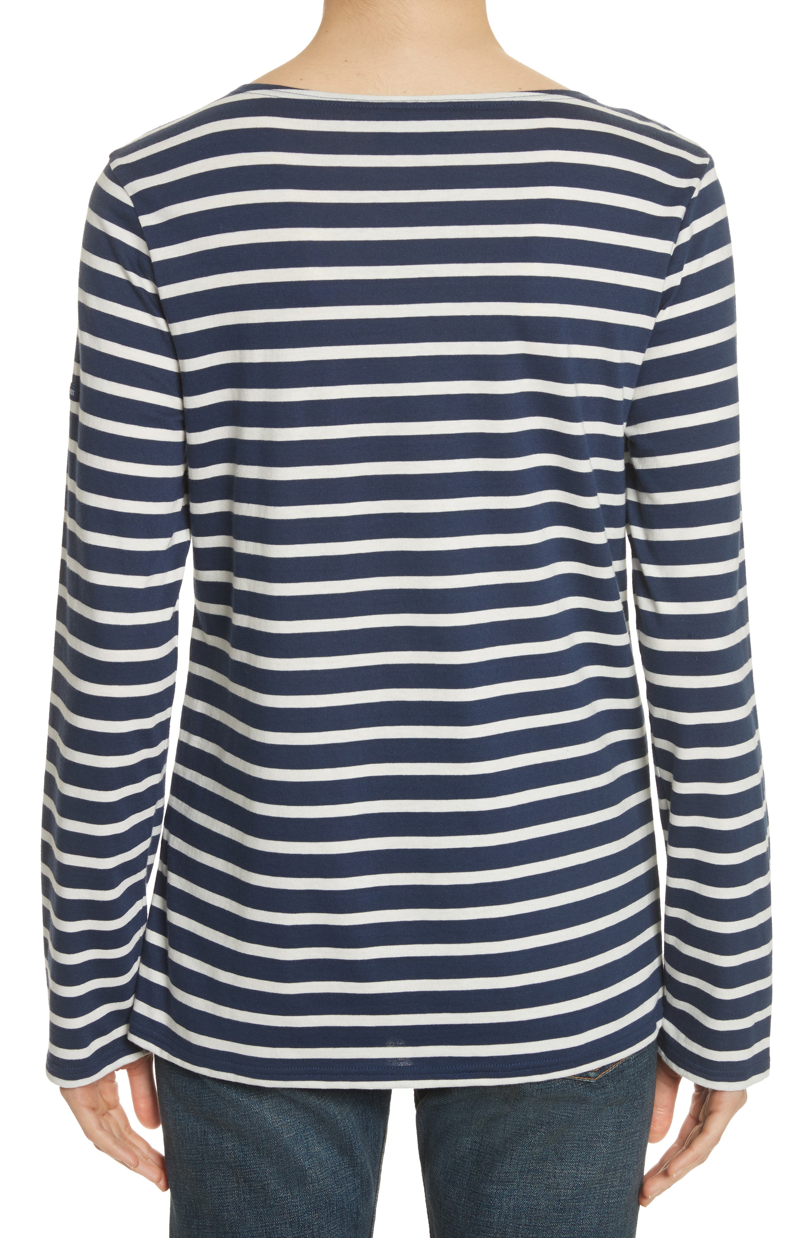 Minquiers Moderne Striped Sailor Shirt,                             Alternate thumbnail 3, color,                             NAVY/ OFF WHITE