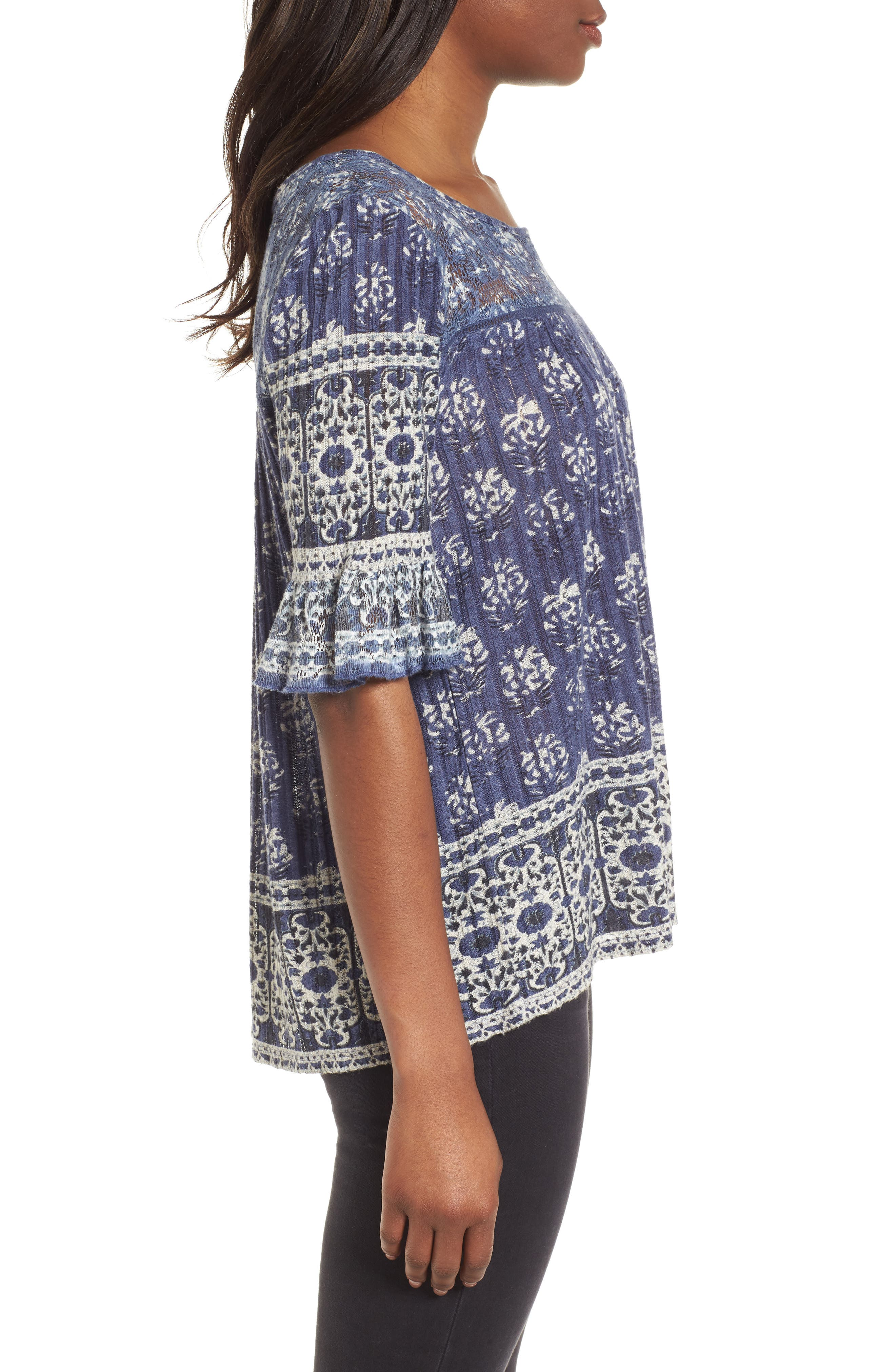 Blue and White Bell Sleeve Top,                             Alternate thumbnail 3, color,                             460