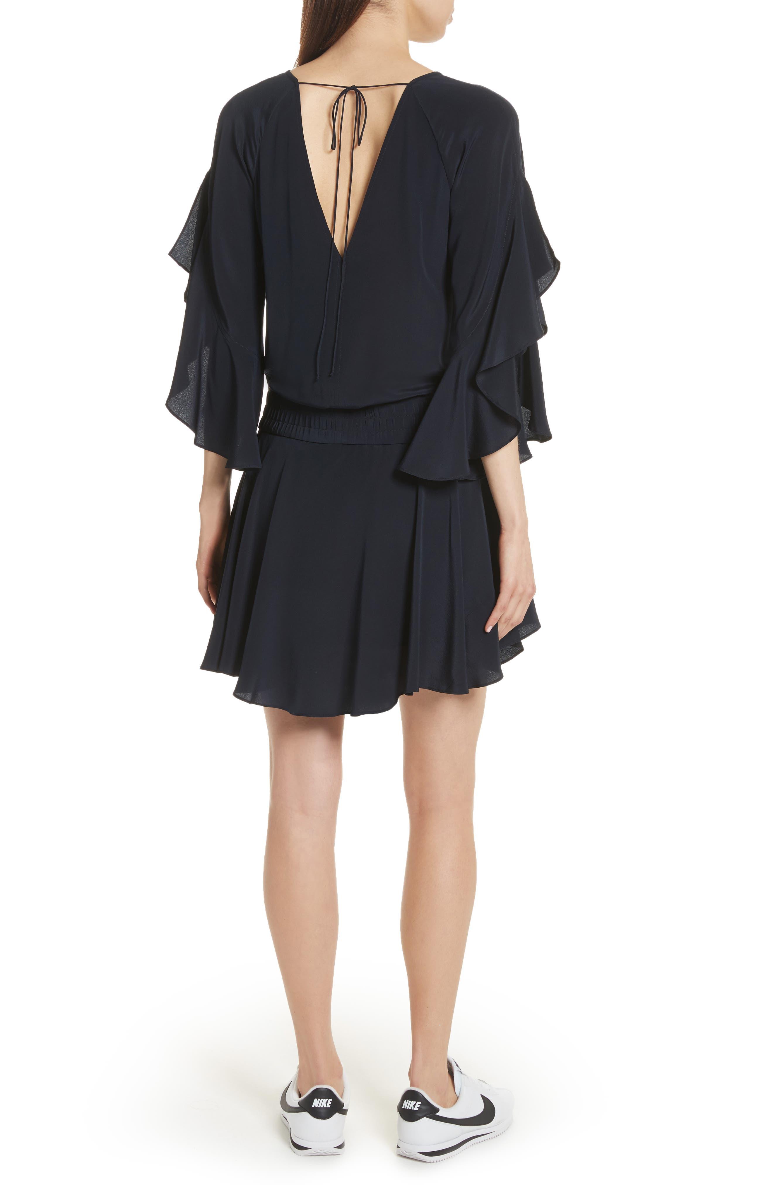 Cannon Flutter Sleeve Silk Dress,                             Alternate thumbnail 2, color,                             401