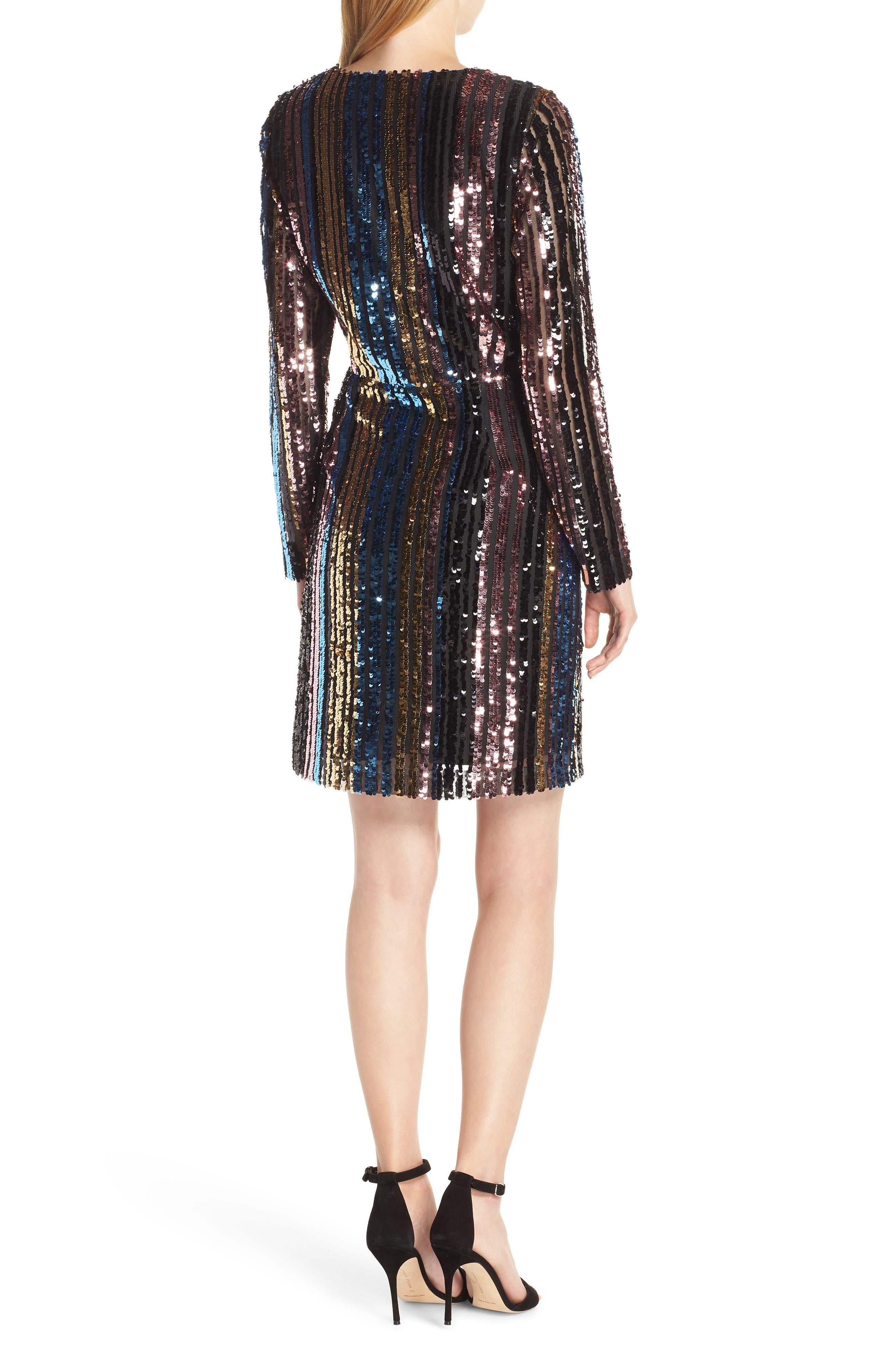 Sam Edleman Rainbow Stripe Sequin Wrap Front Dress,                             Alternate thumbnail 2, color,                             RAINBOW
