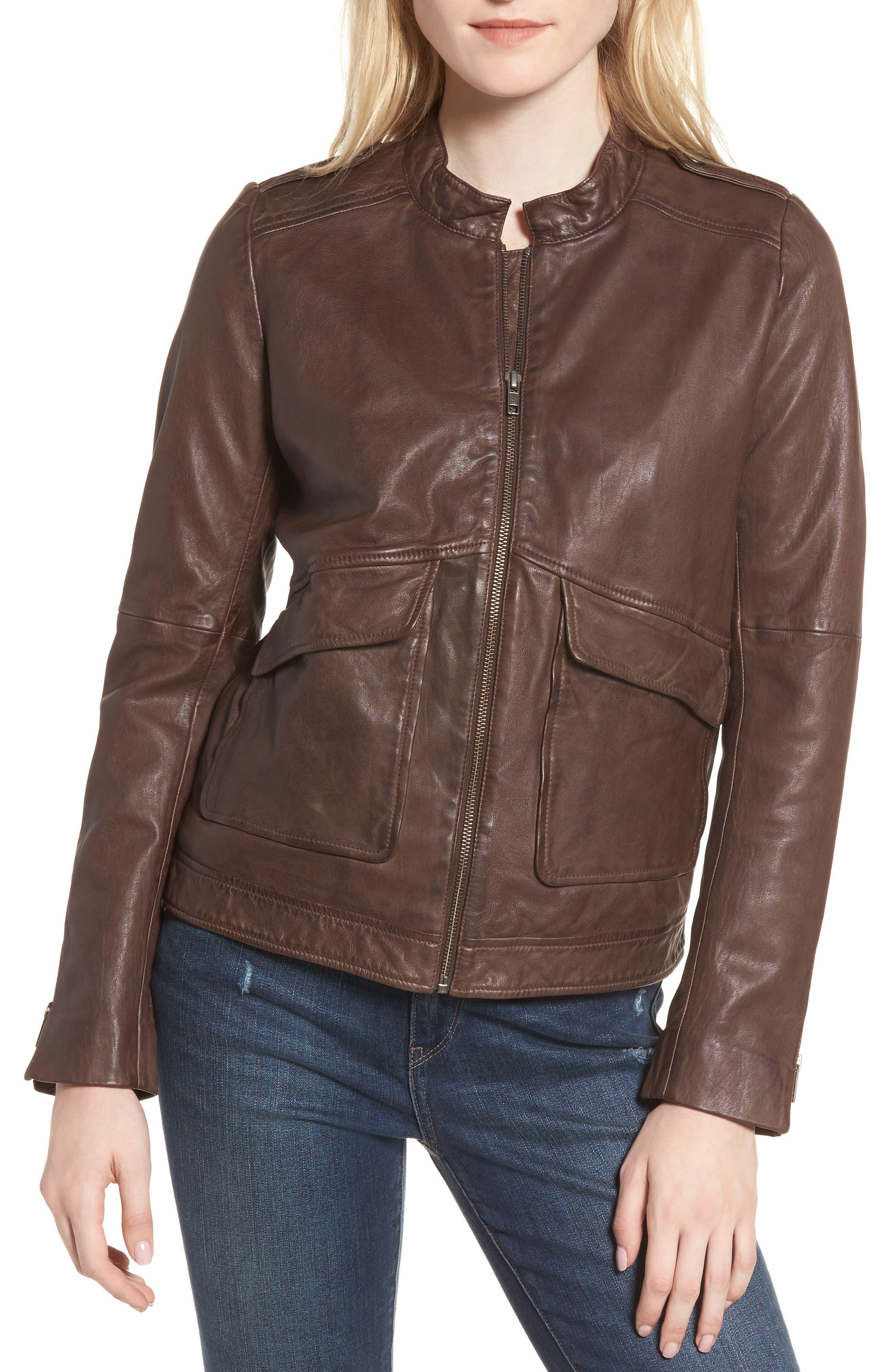 Pocket Detail Leather Jacket,                             Alternate thumbnail 4, color,