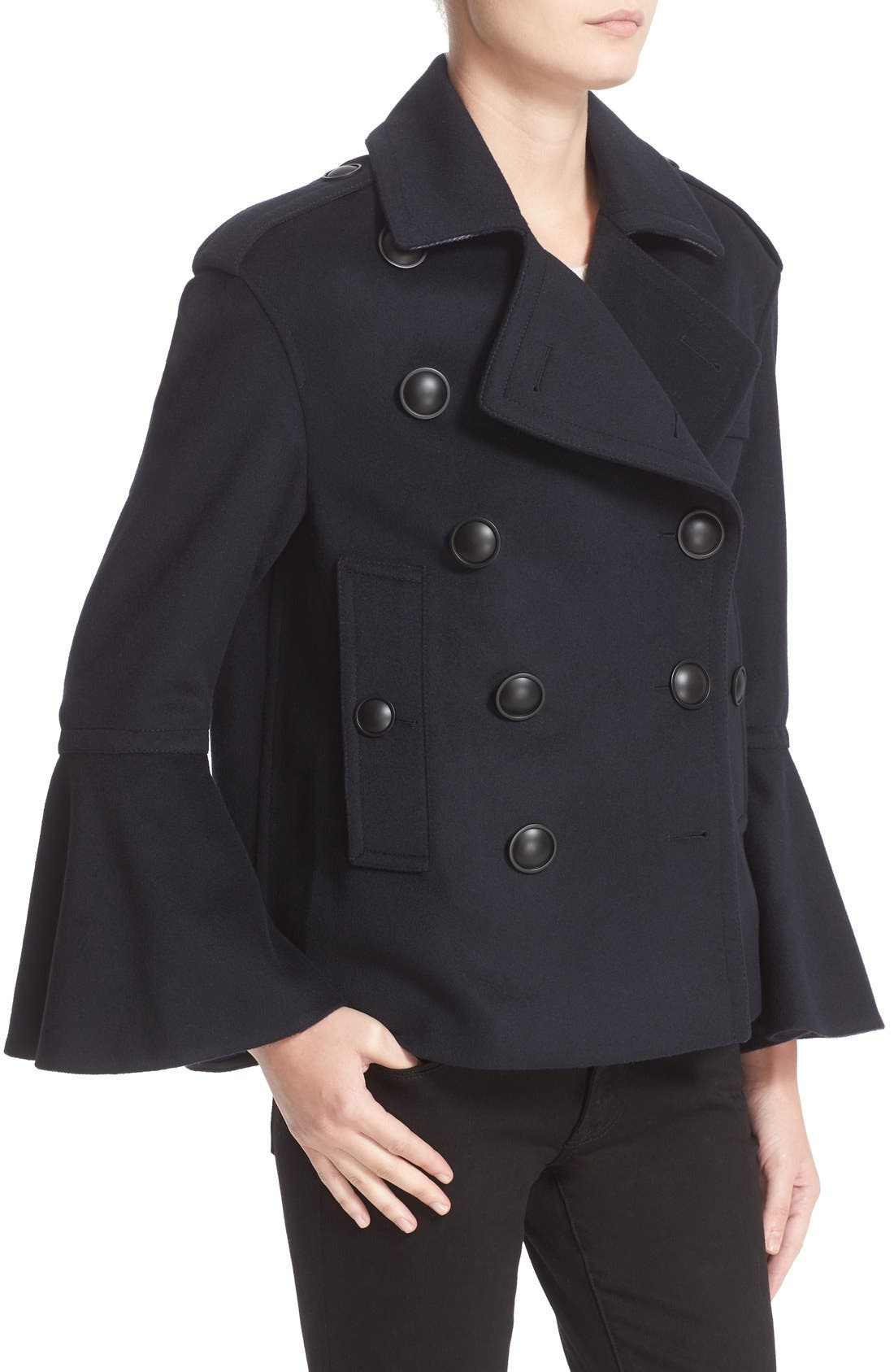 BURBERRY Juliette Townhill Double Breasted Peacoat, Main, color, 410