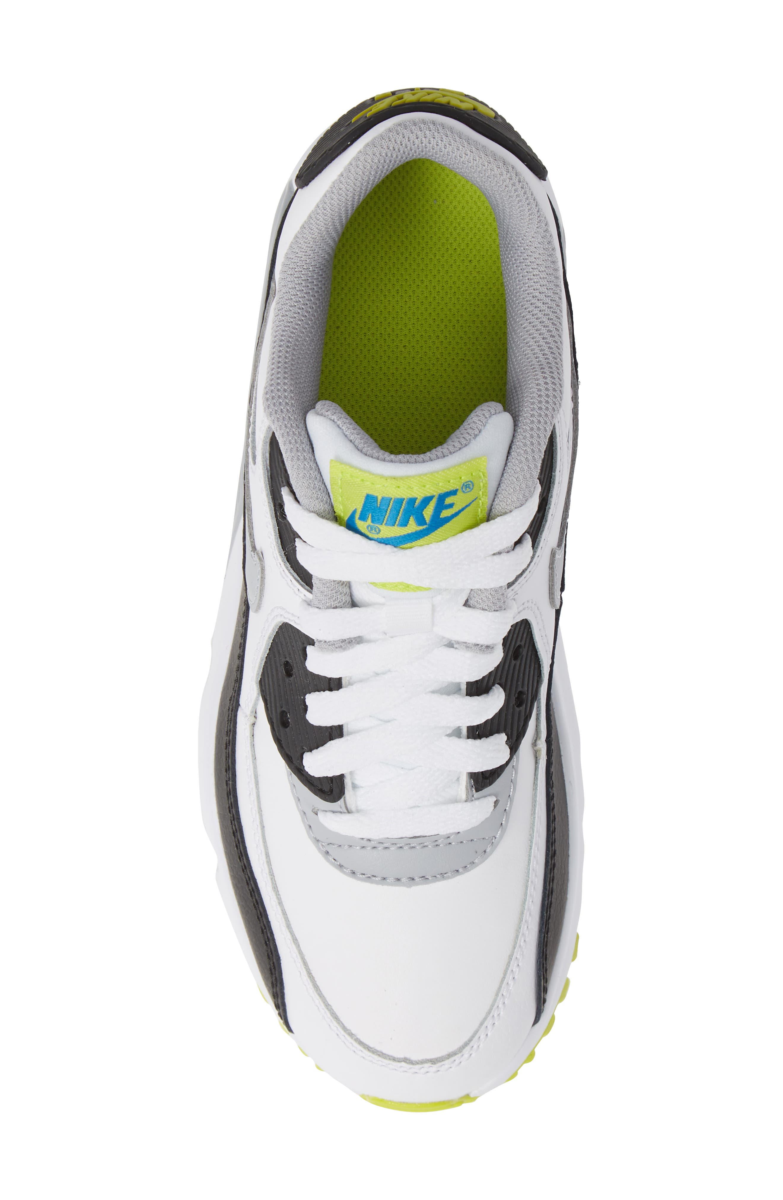 Air Max 90 Sneaker,                             Alternate thumbnail 5, color,                             WHITE/ WOLF GREY/ BLUE