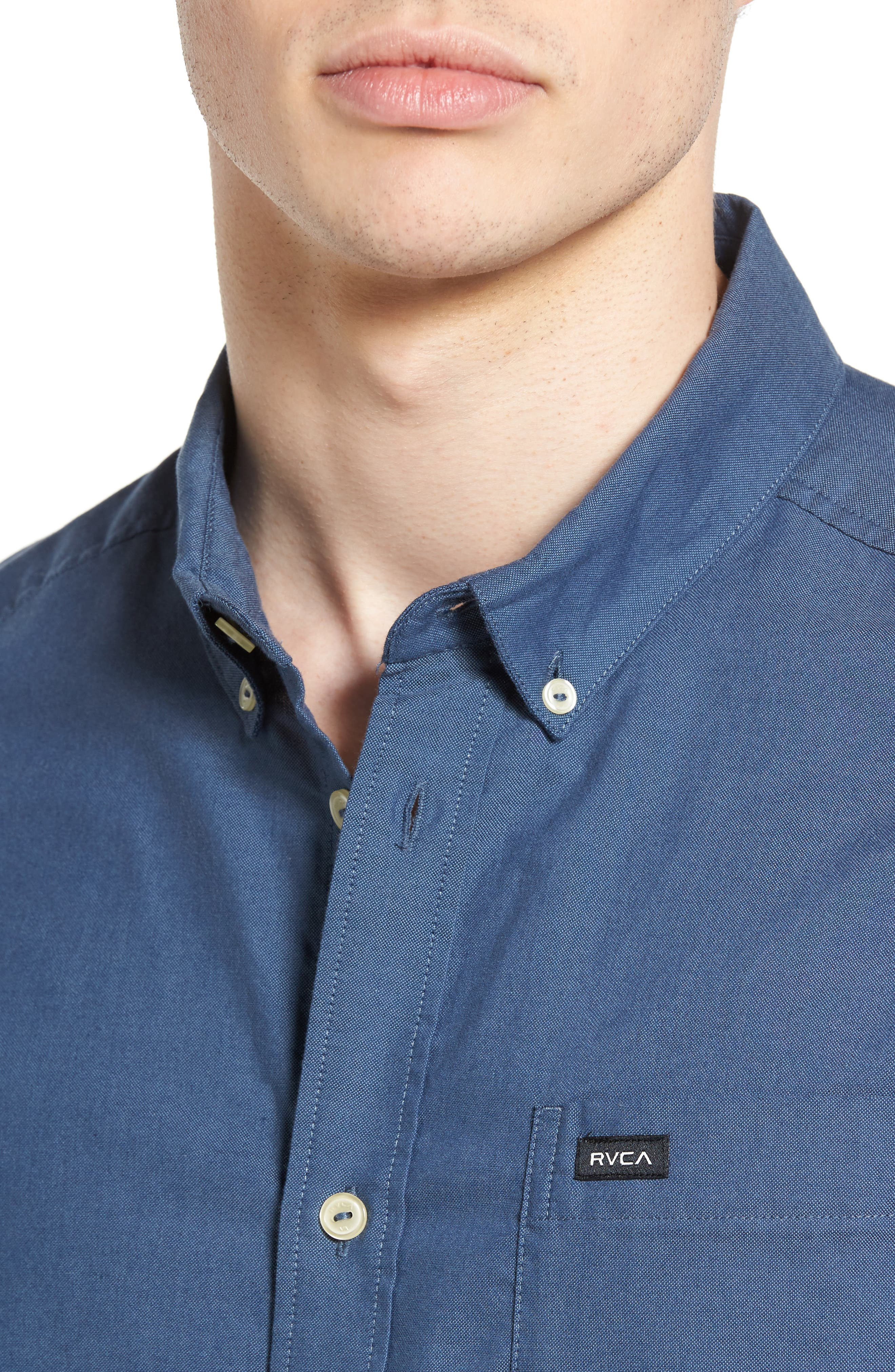 'That'll Do' Slim Fit Short Sleeve Oxford Shirt,                             Alternate thumbnail 4, color,                             434