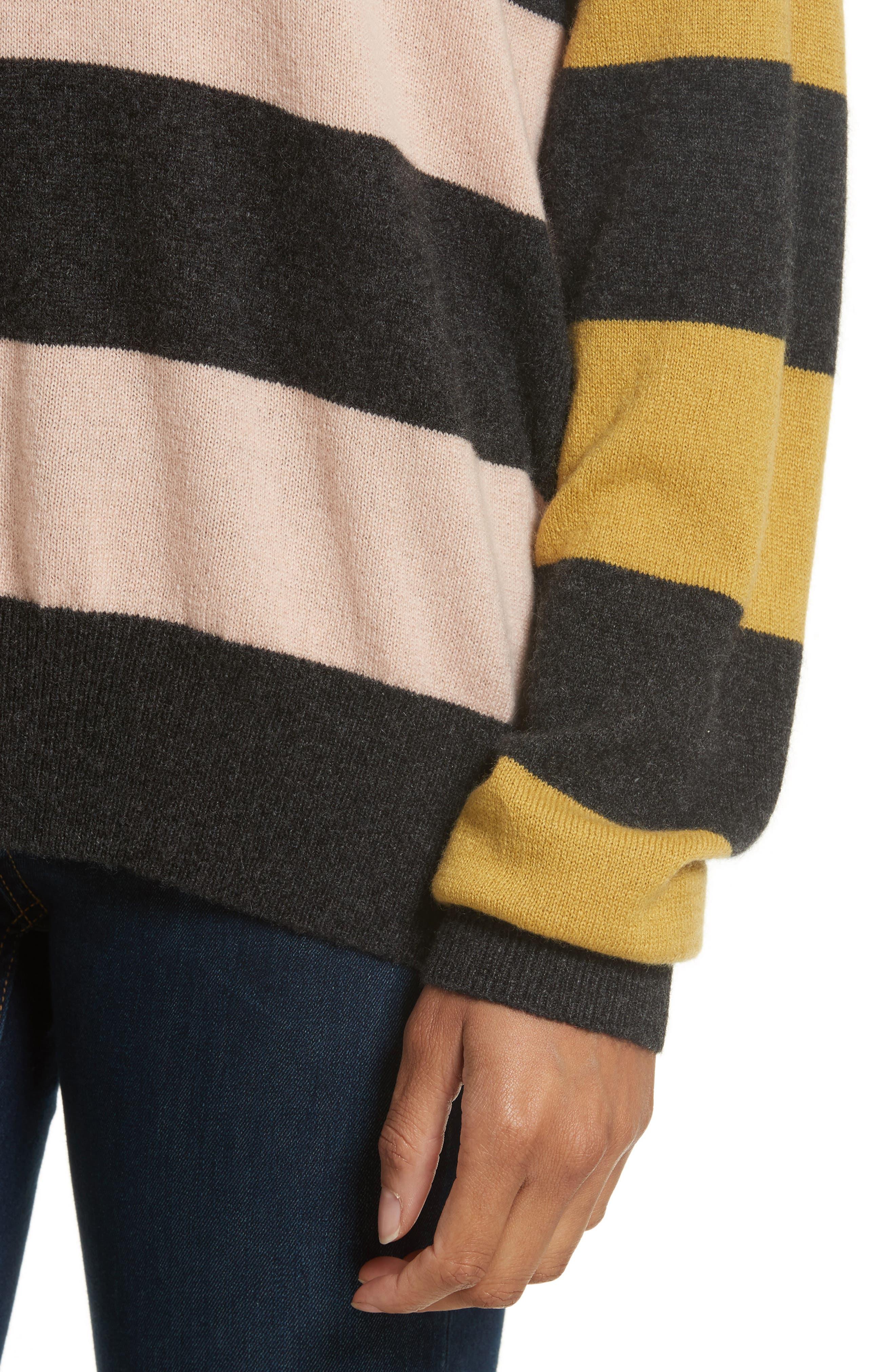 Lucinda Stripe Cashmere Sweater,                             Alternate thumbnail 4, color,                             020