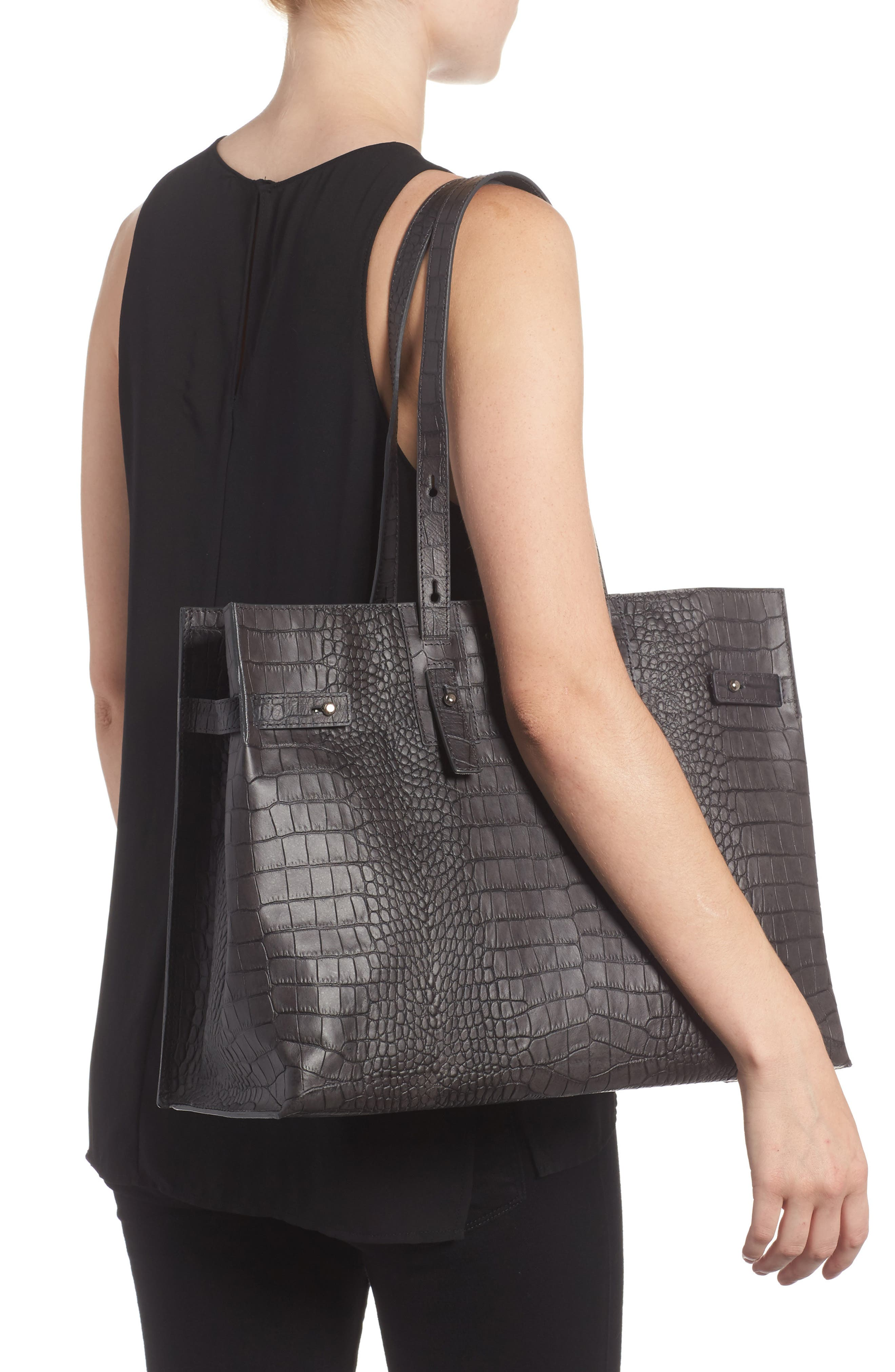 Petra Croc-Embossed Calfskin Leather Tote,                             Alternate thumbnail 2, color,                             020