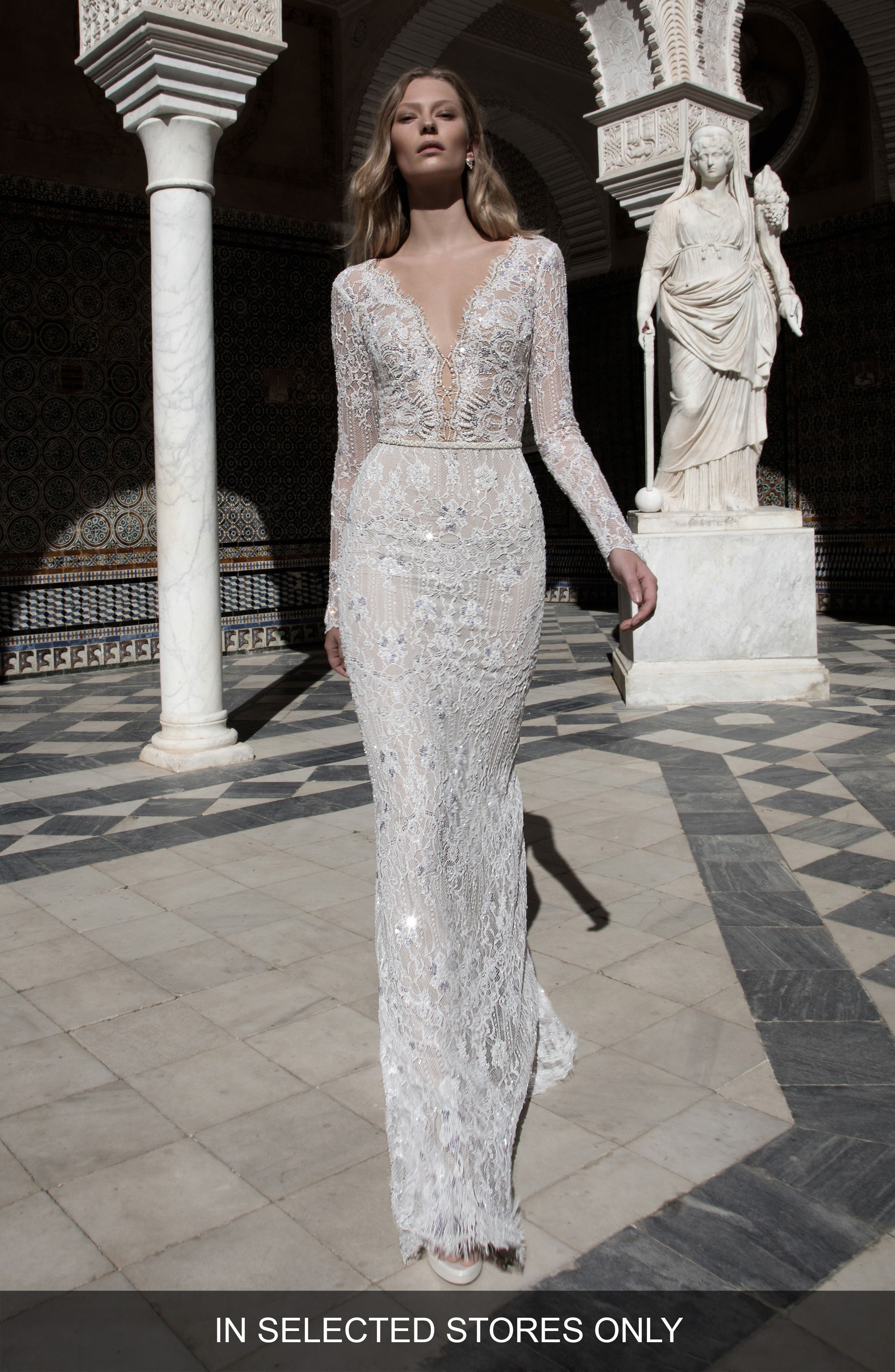 Kim Embellished Lace V-Neck Gown,                             Main thumbnail 1, color,                             900
