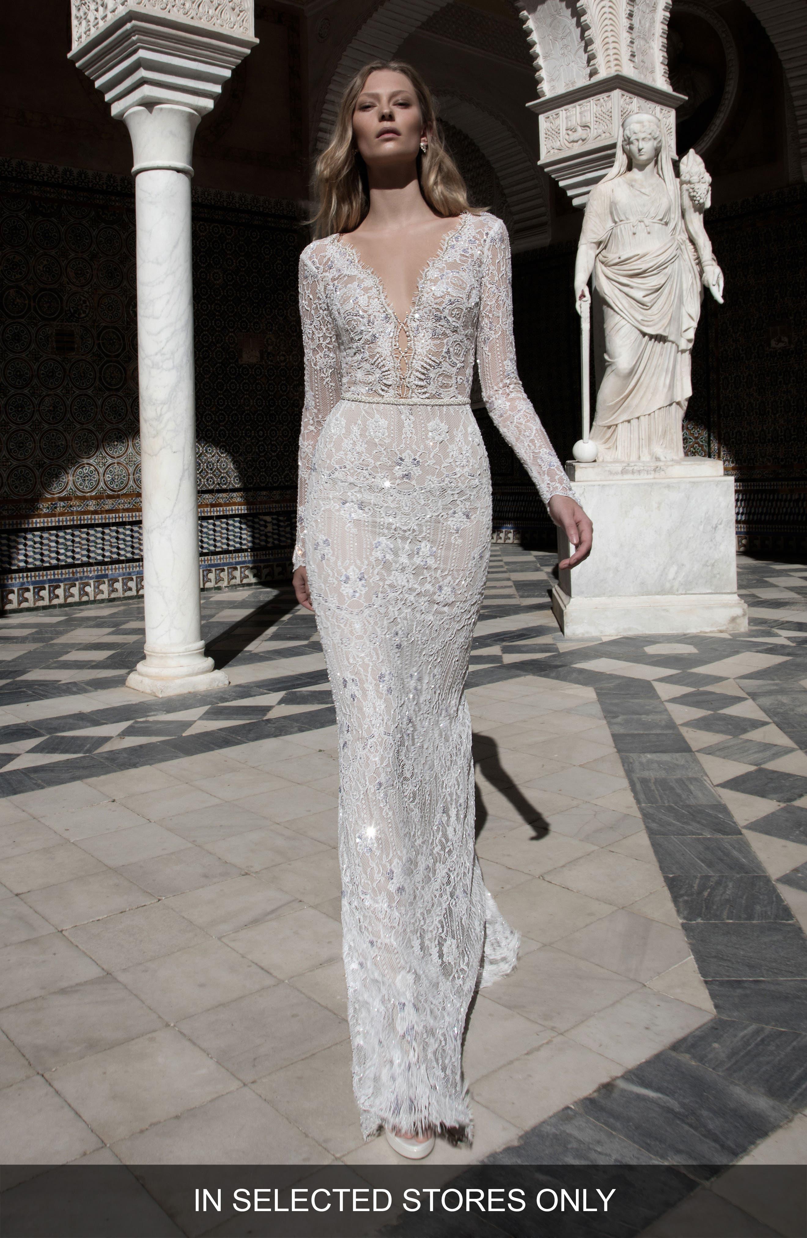 Kim Embellished Lace V-Neck Gown, Main, color, 900