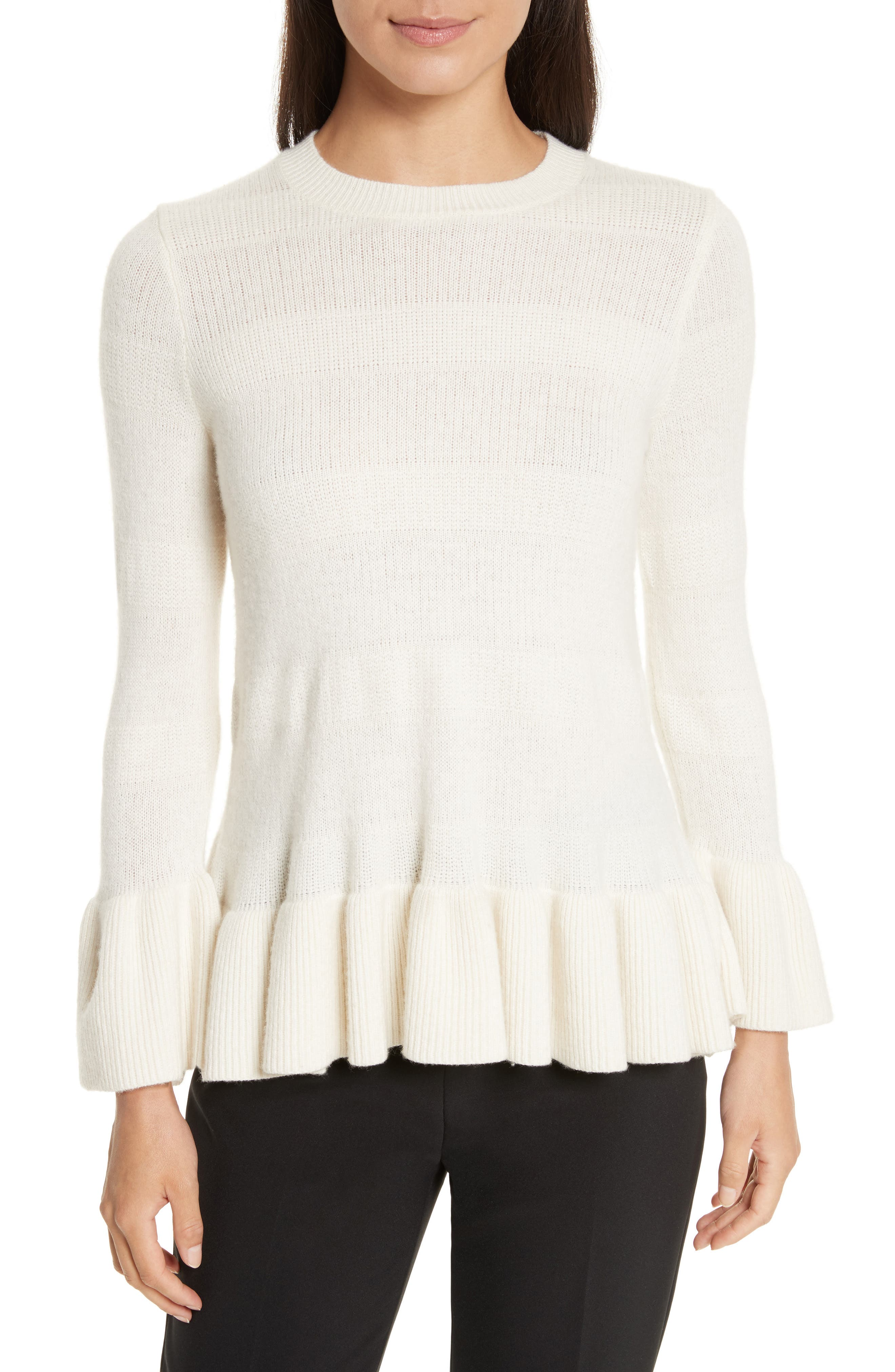 bell cuff textured sweater,                             Main thumbnail 1, color,                             902