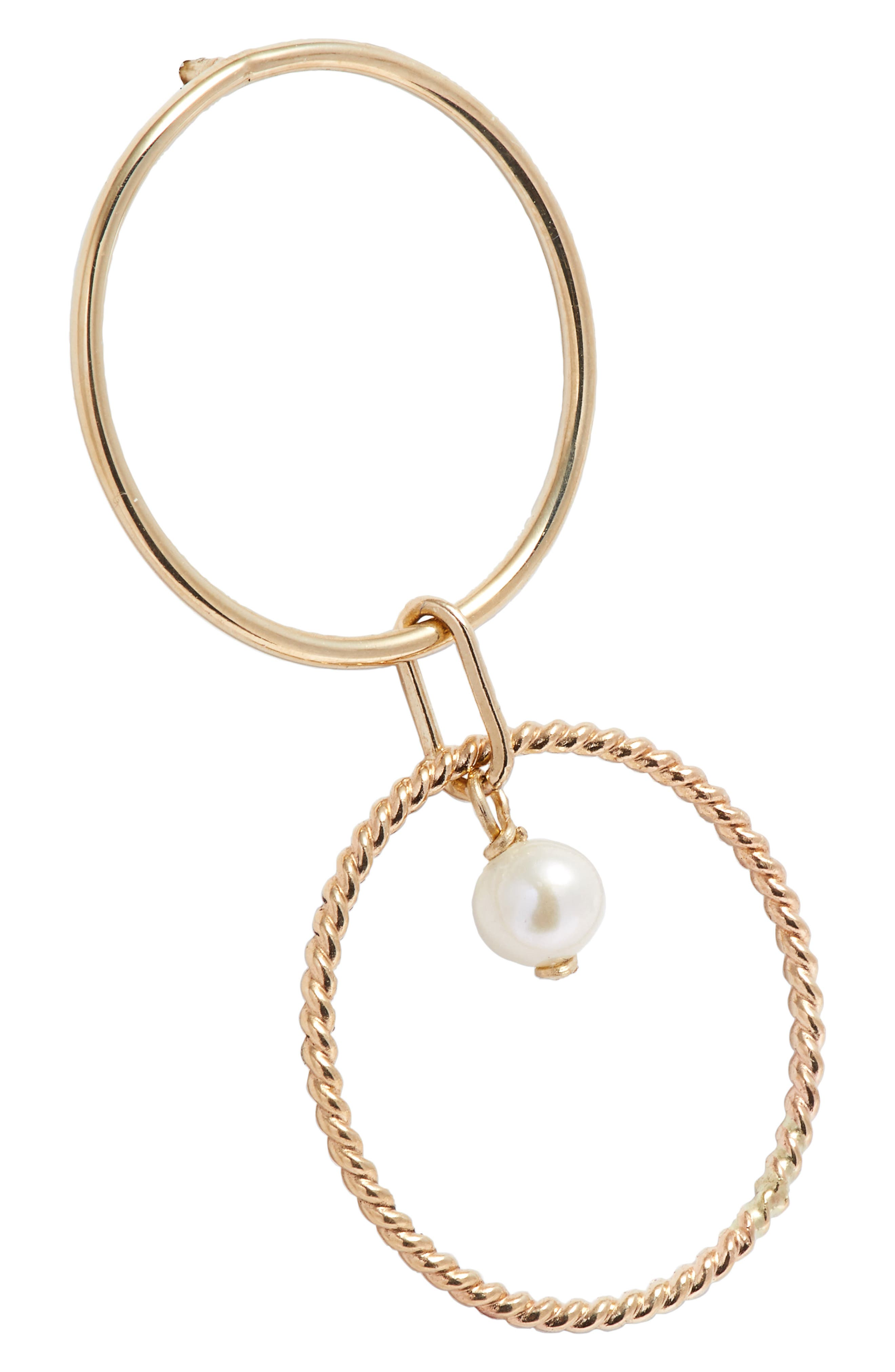 Pearl Double Hoop Earrings,                             Alternate thumbnail 5, color,                             YELLOW GOLD/ WHITE PEARL