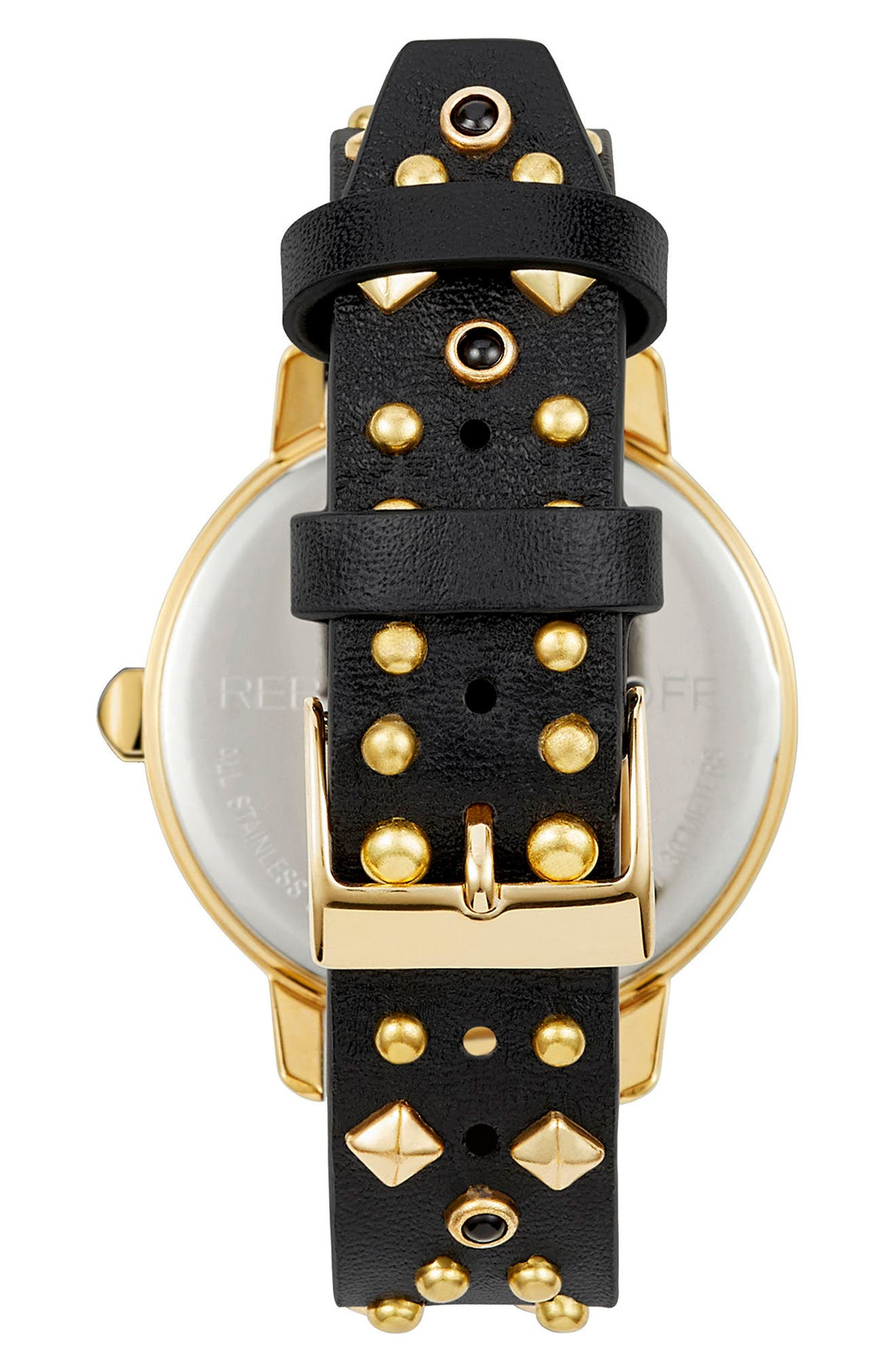 BFFL Studded Leather Strap Watch, 36mm,                             Alternate thumbnail 2, color,                             BLACK/ GOLD