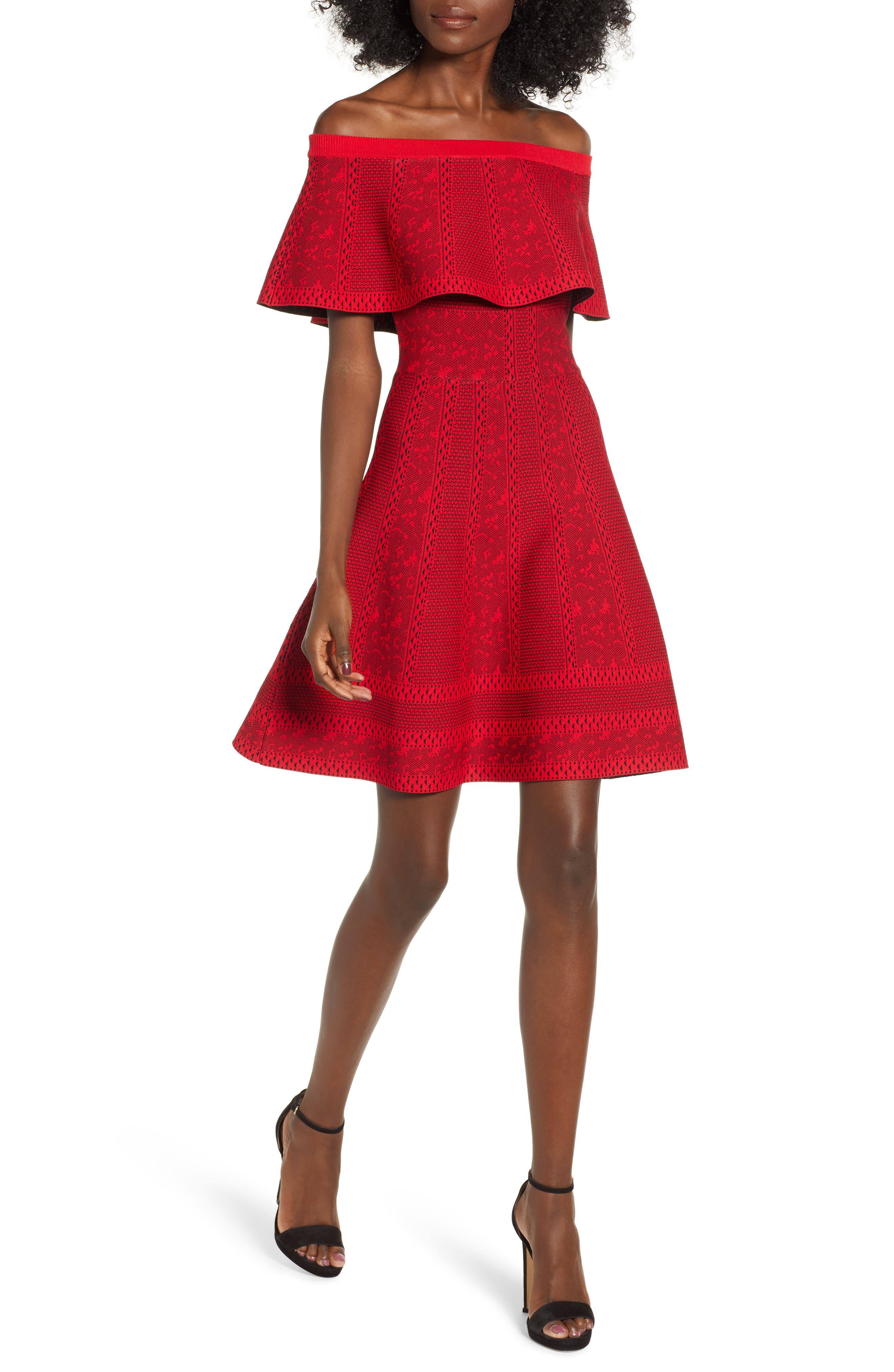 Off the Shoulder Fit & Flare Dress,                             Main thumbnail 1, color,                             RED