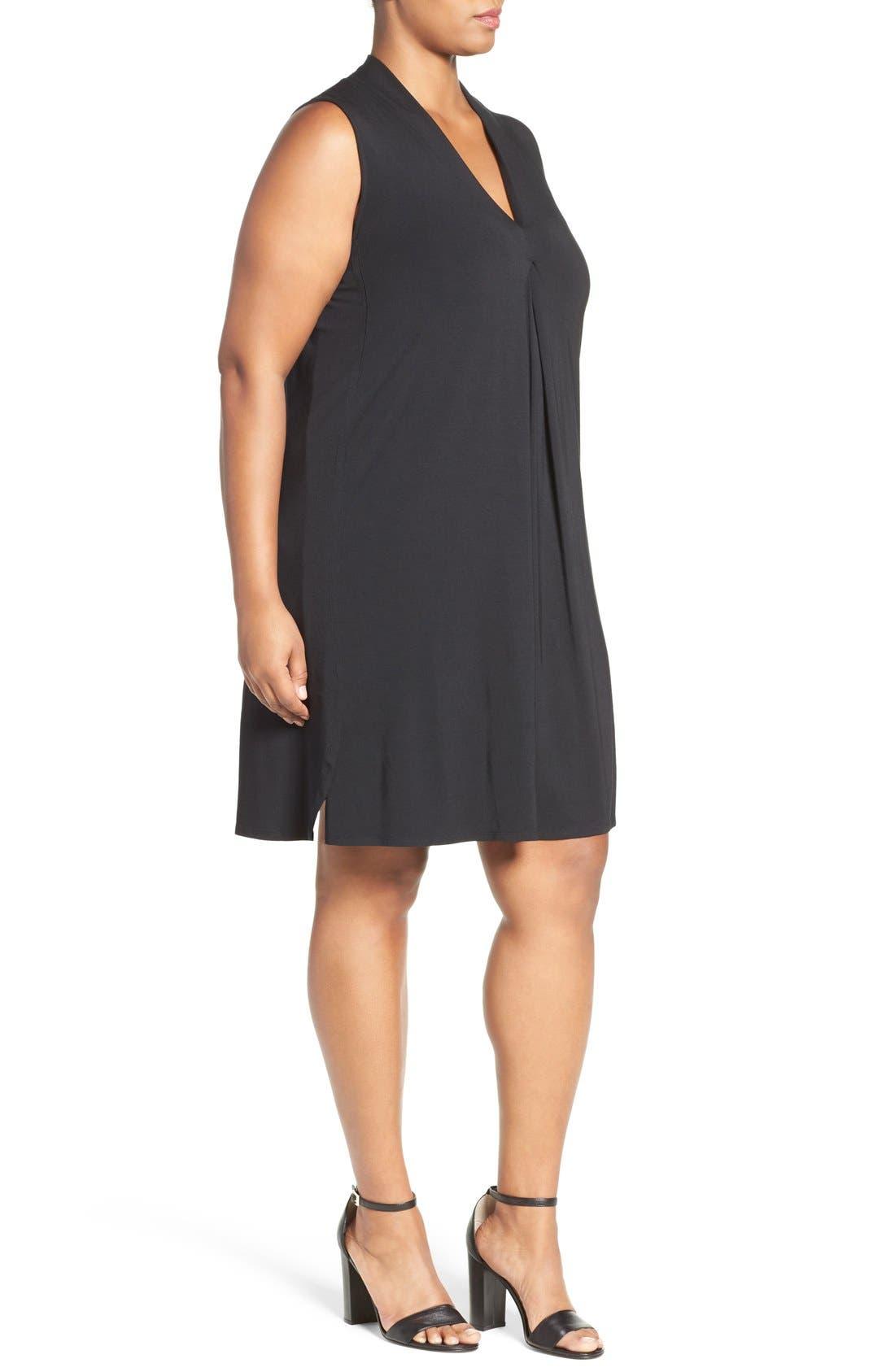 'Tara' Print Jersey A-Line Dress,                             Alternate thumbnail 4, color,                             001
