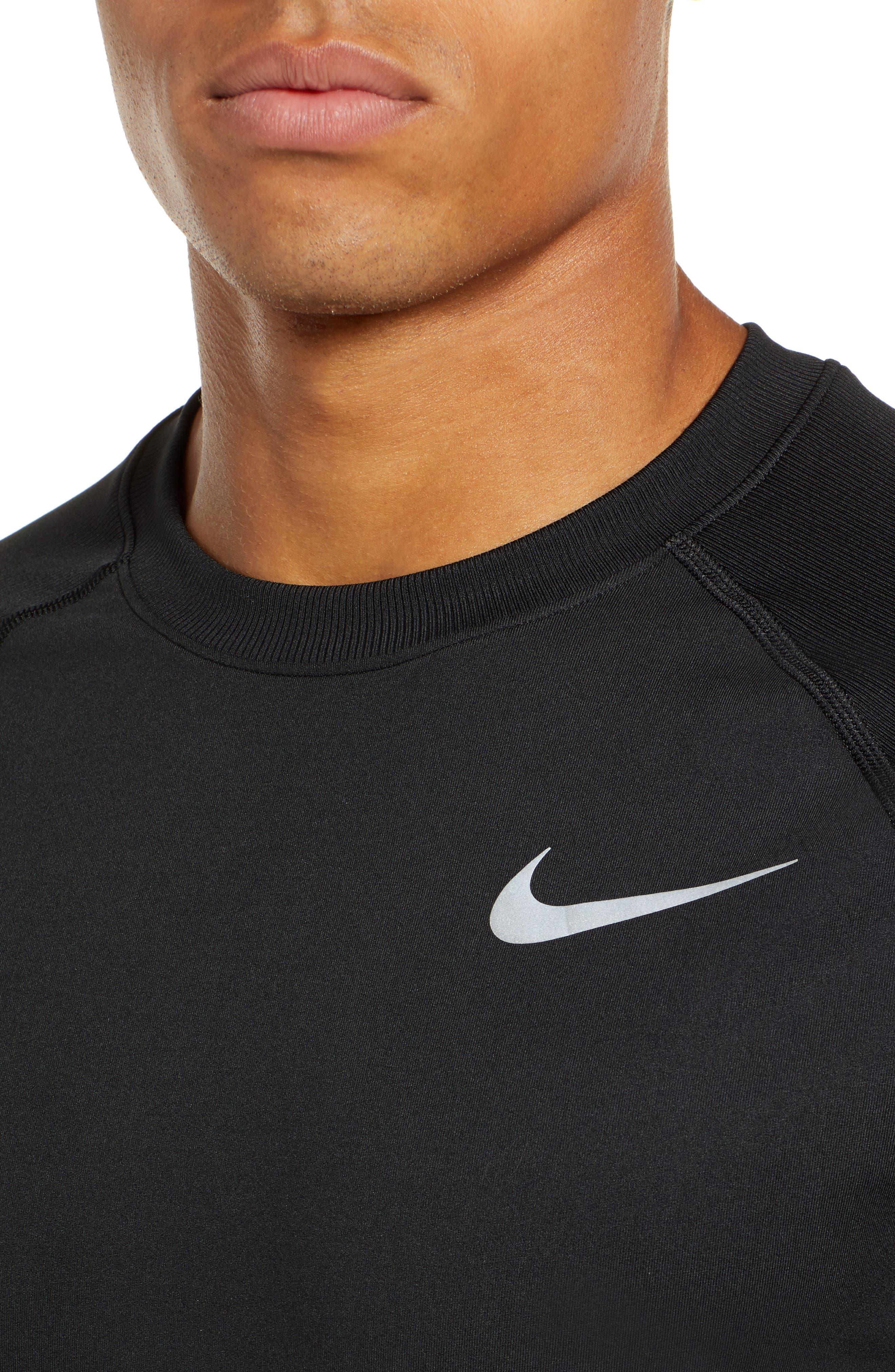 NIKE,                             Element Dry Crewneck Running T-Shirt,                             Alternate thumbnail 4, color,                             BLACK