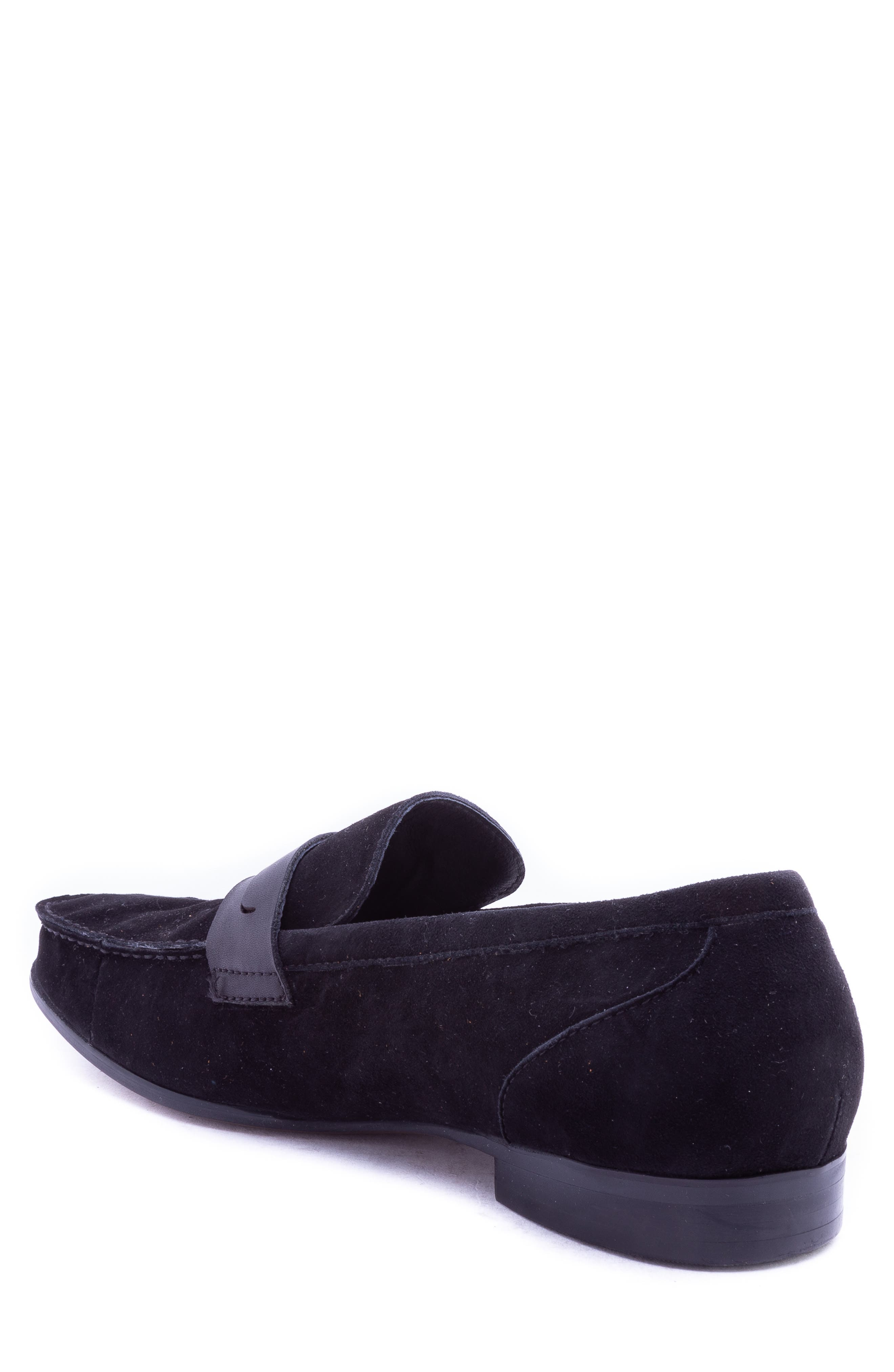Opie Penny Loafer,                             Alternate thumbnail 2, color,                             BLACK SUEDE/ LEATHER
