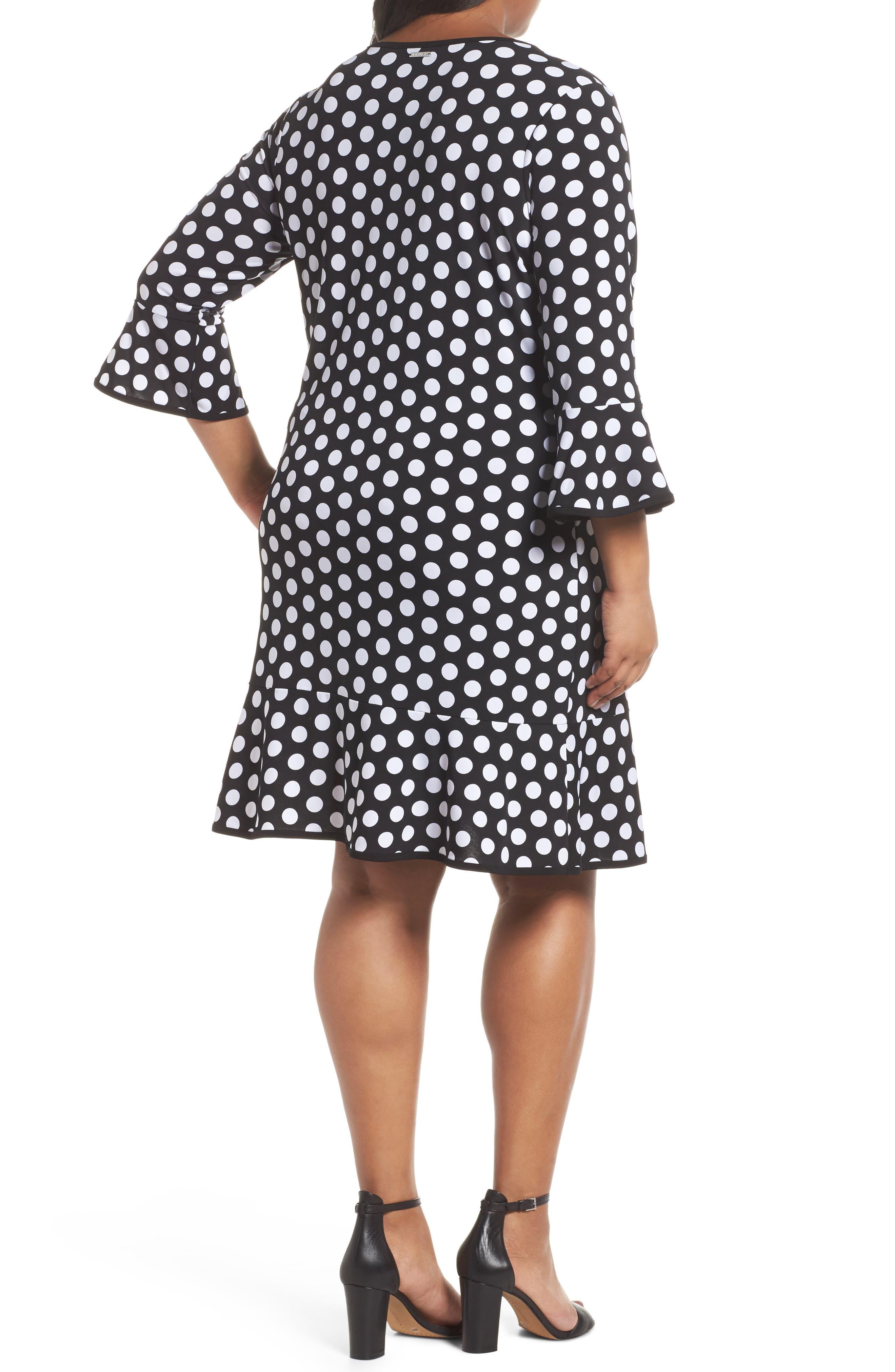 Simple Dot Flounce Dress,                             Alternate thumbnail 2, color,                             008