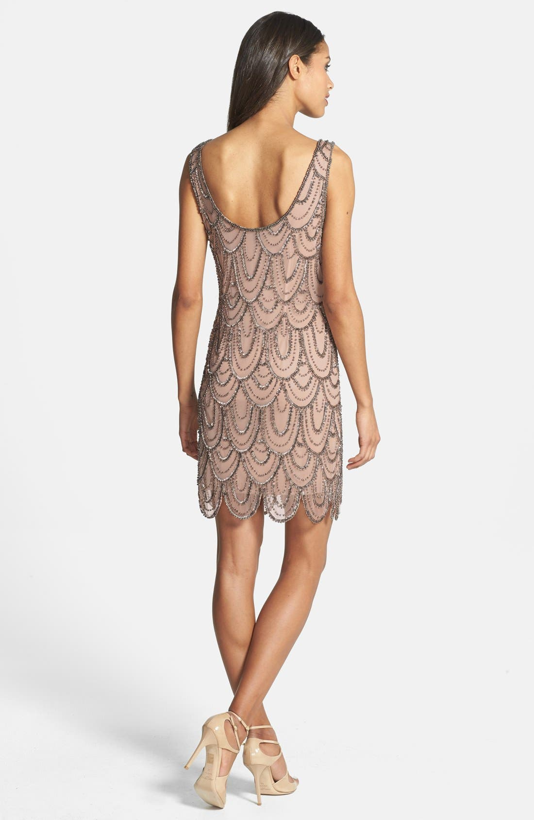 Embellished Mesh Sheath Dress,                             Alternate thumbnail 36, color,
