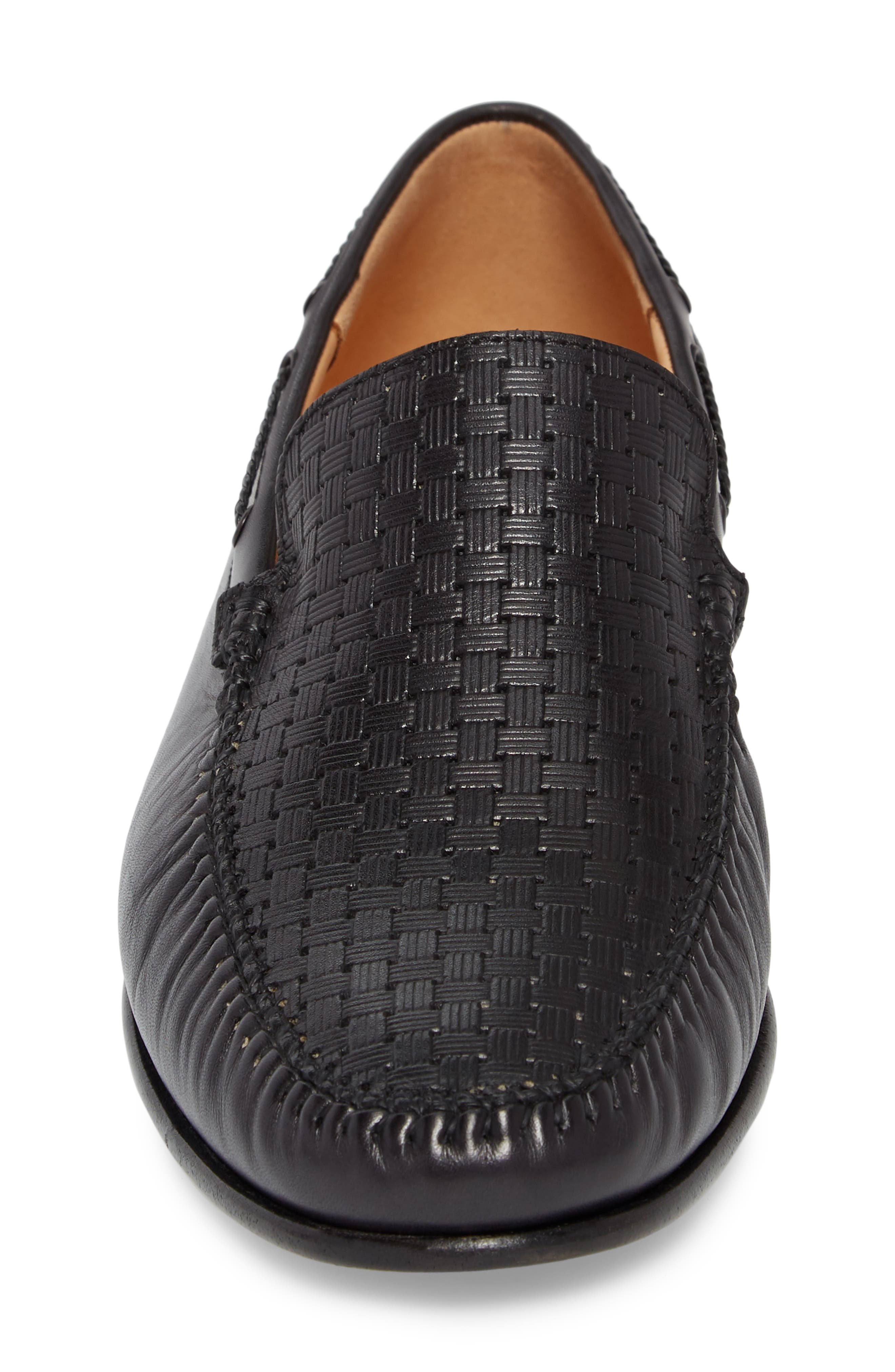 Jano Embossed Moc-Toe Loafer,                             Alternate thumbnail 4, color,                             BLACK LEATHER
