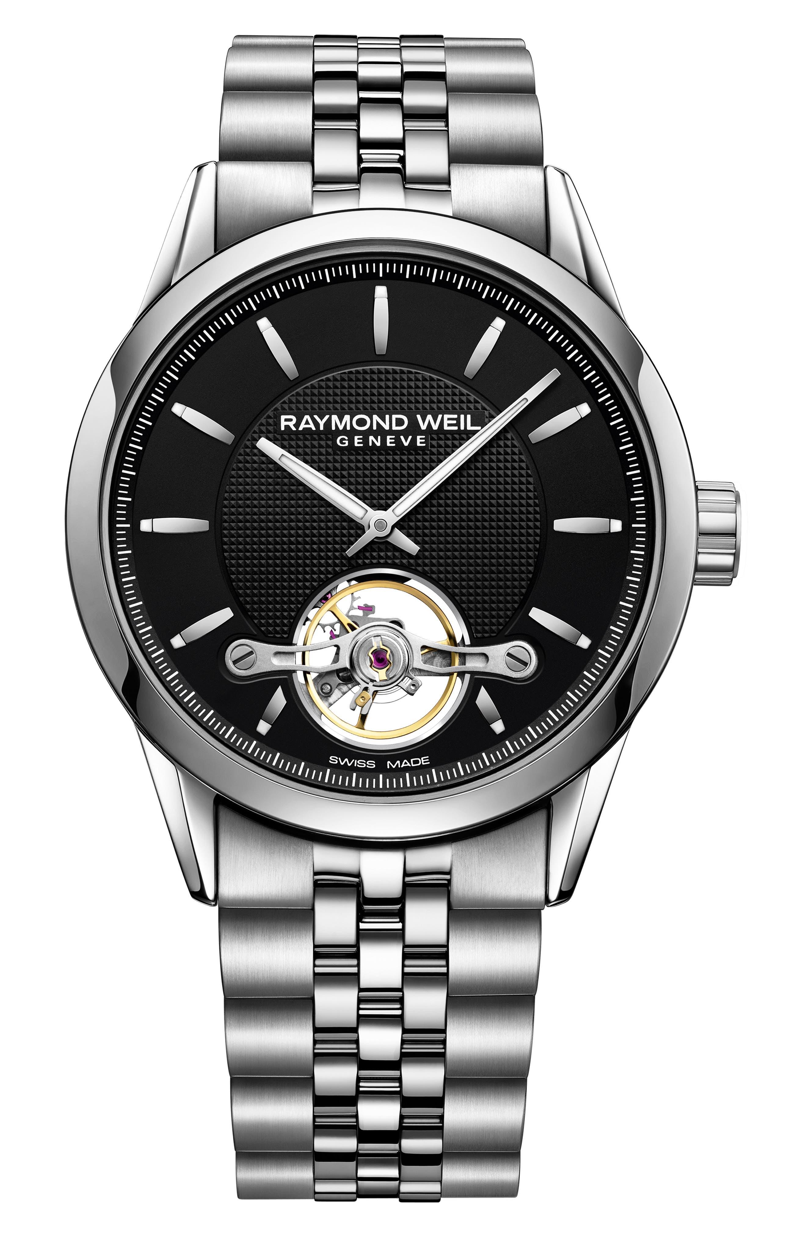 Freelancer Automatic Bracelet Watch, 43mm,                         Main,                         color, SILVER/ BLACK/ SILVER