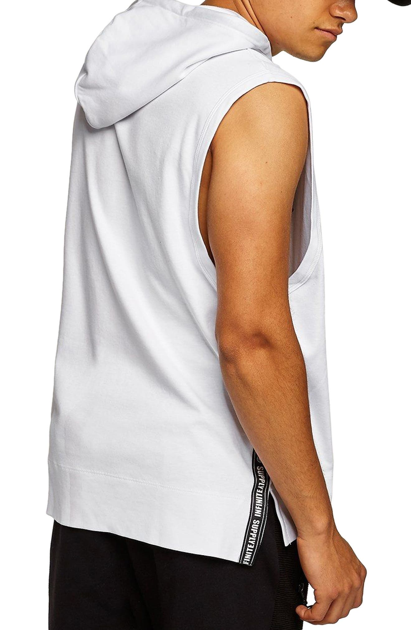 Classic Fit Taped Sleeveless Hoodie,                             Alternate thumbnail 2, color,                             100