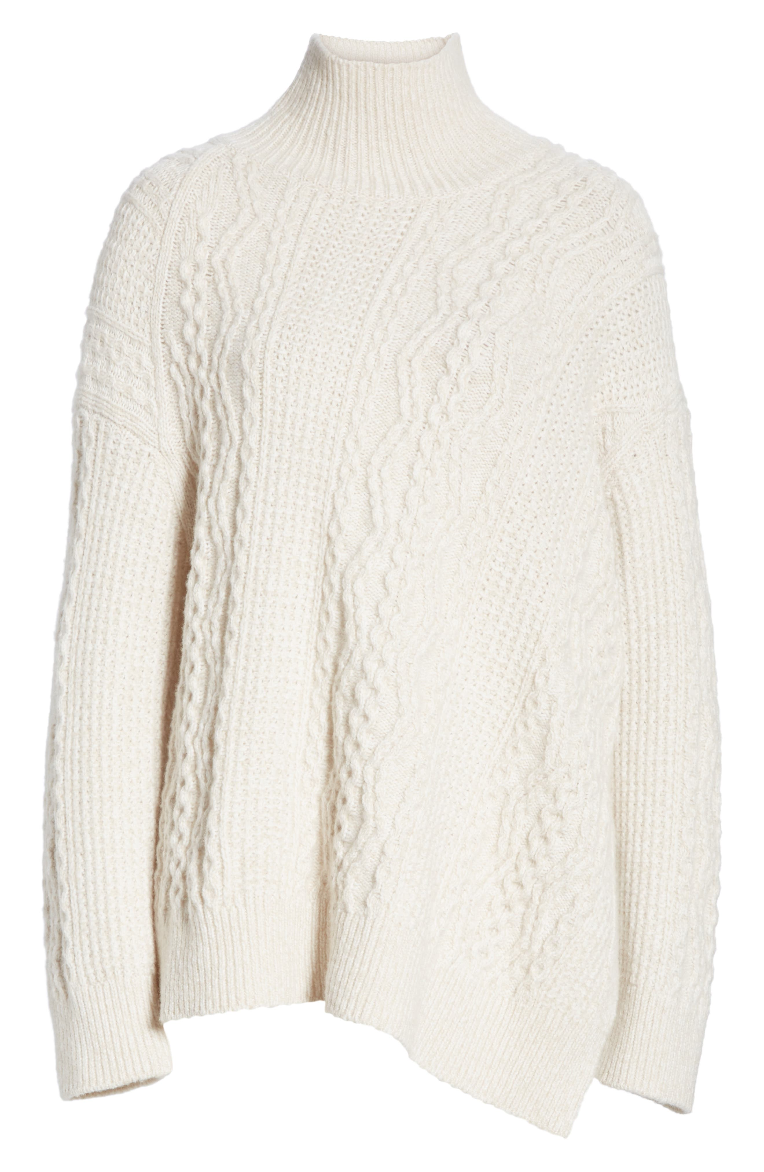 Diagonal Cable Wool Blend Turtleneck Sweater,                             Alternate thumbnail 6, color,                             OFF WHITE/ MARZIPAN