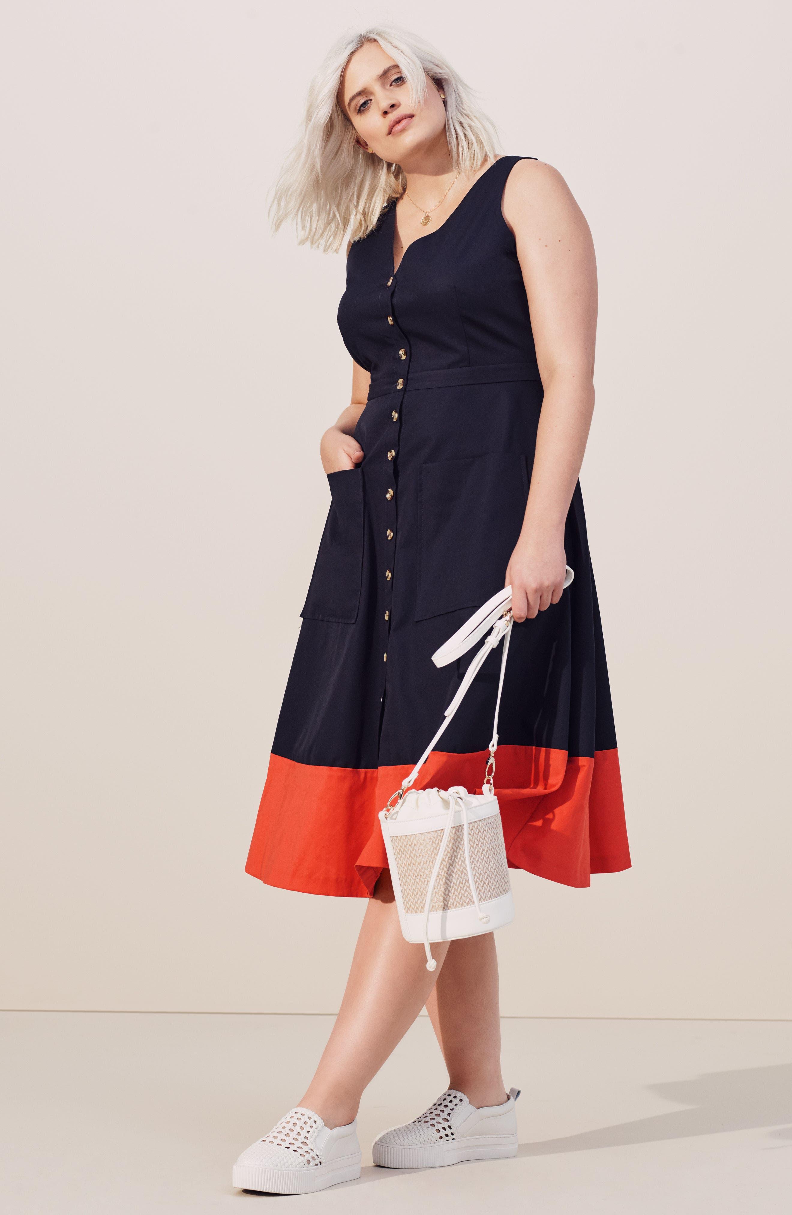 Colorblock Cotton Midi Dress,                             Alternate thumbnail 8, color,                             NAVY RED COLOR BLOCK