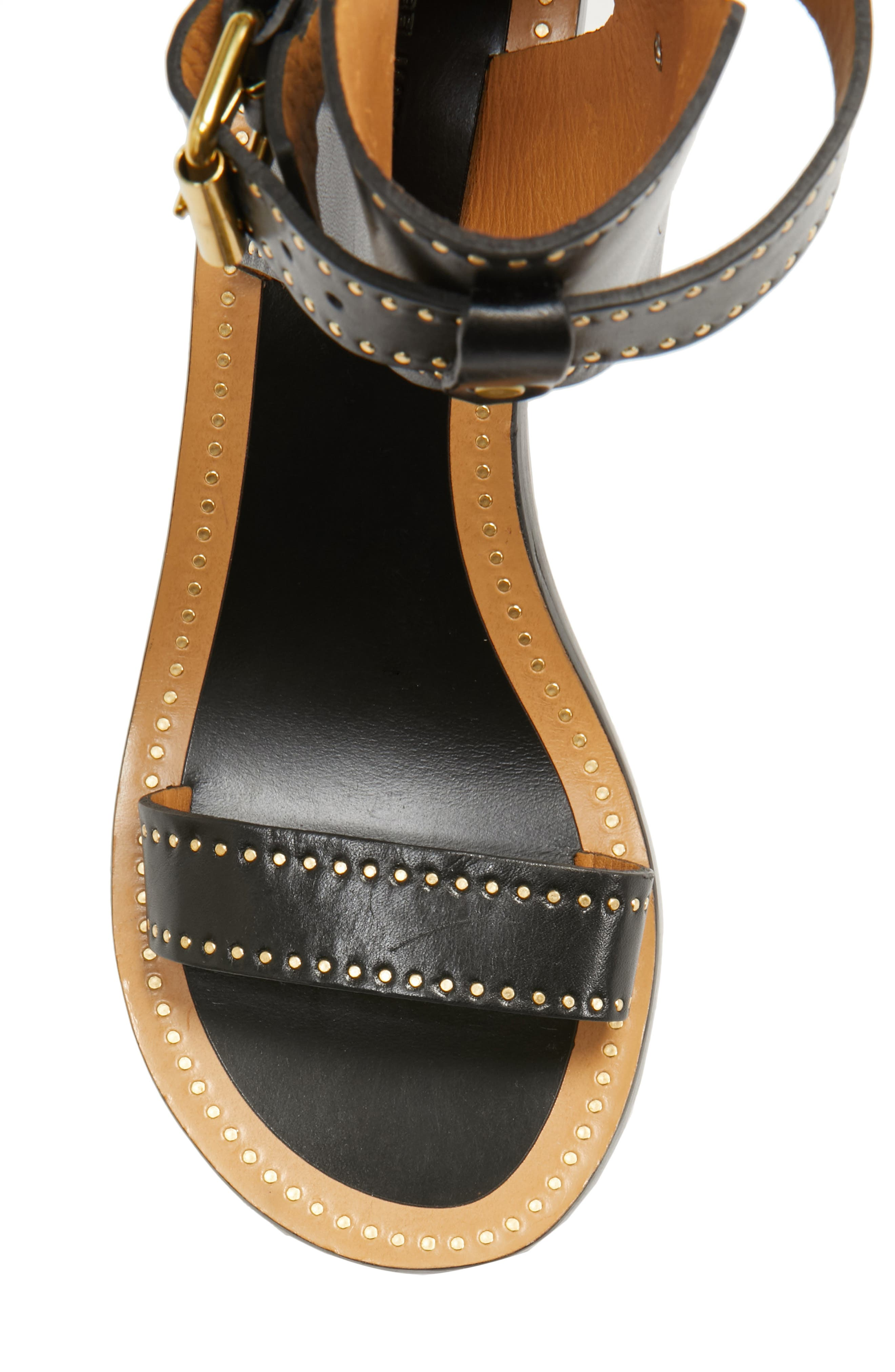 Jaeryn Studded Ankle Strap Sandal,                             Alternate thumbnail 5, color,                             BLACK LEATHER