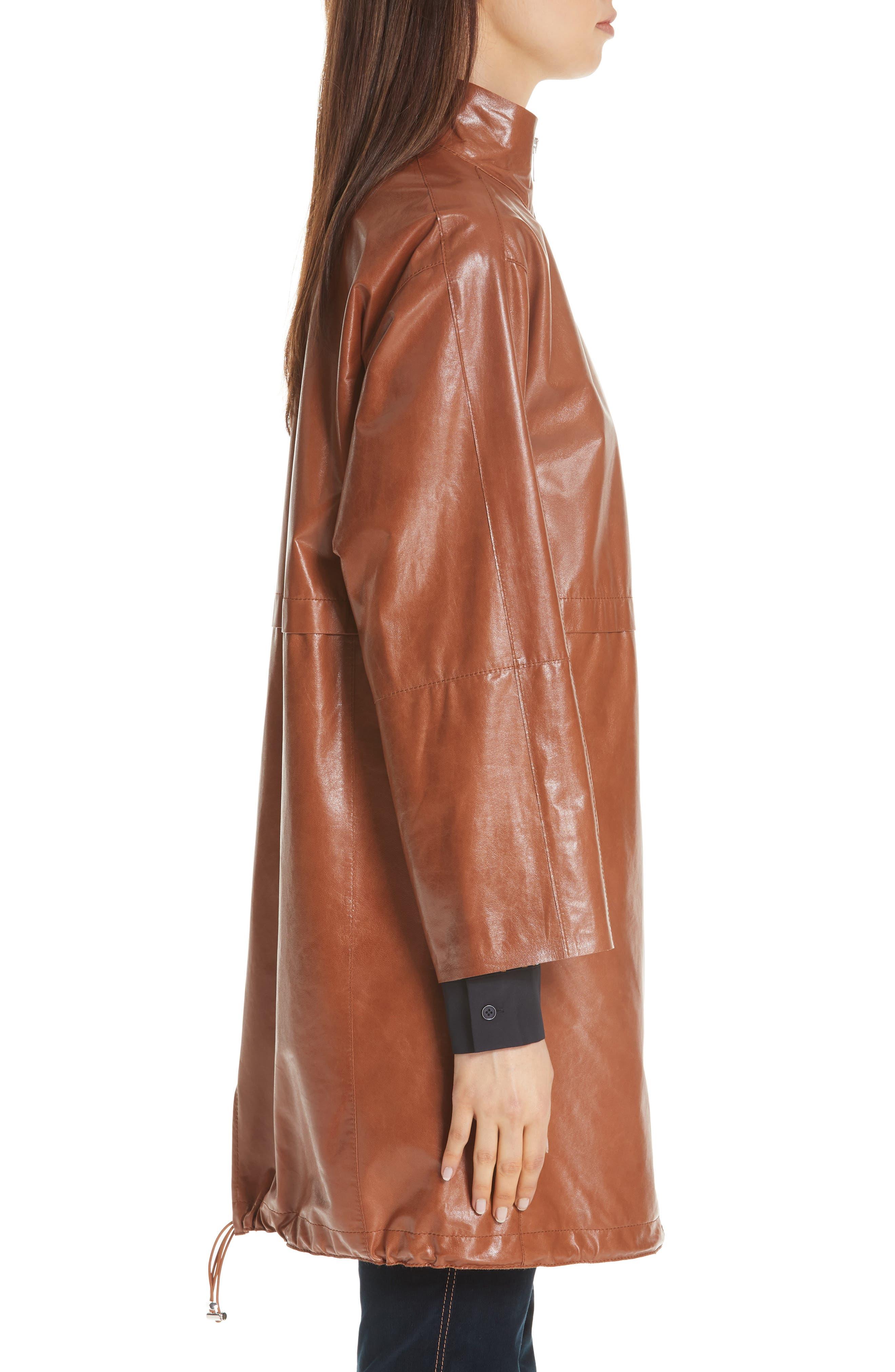 Minerva Leather Jacket,                             Alternate thumbnail 3, color,                             OCHRE