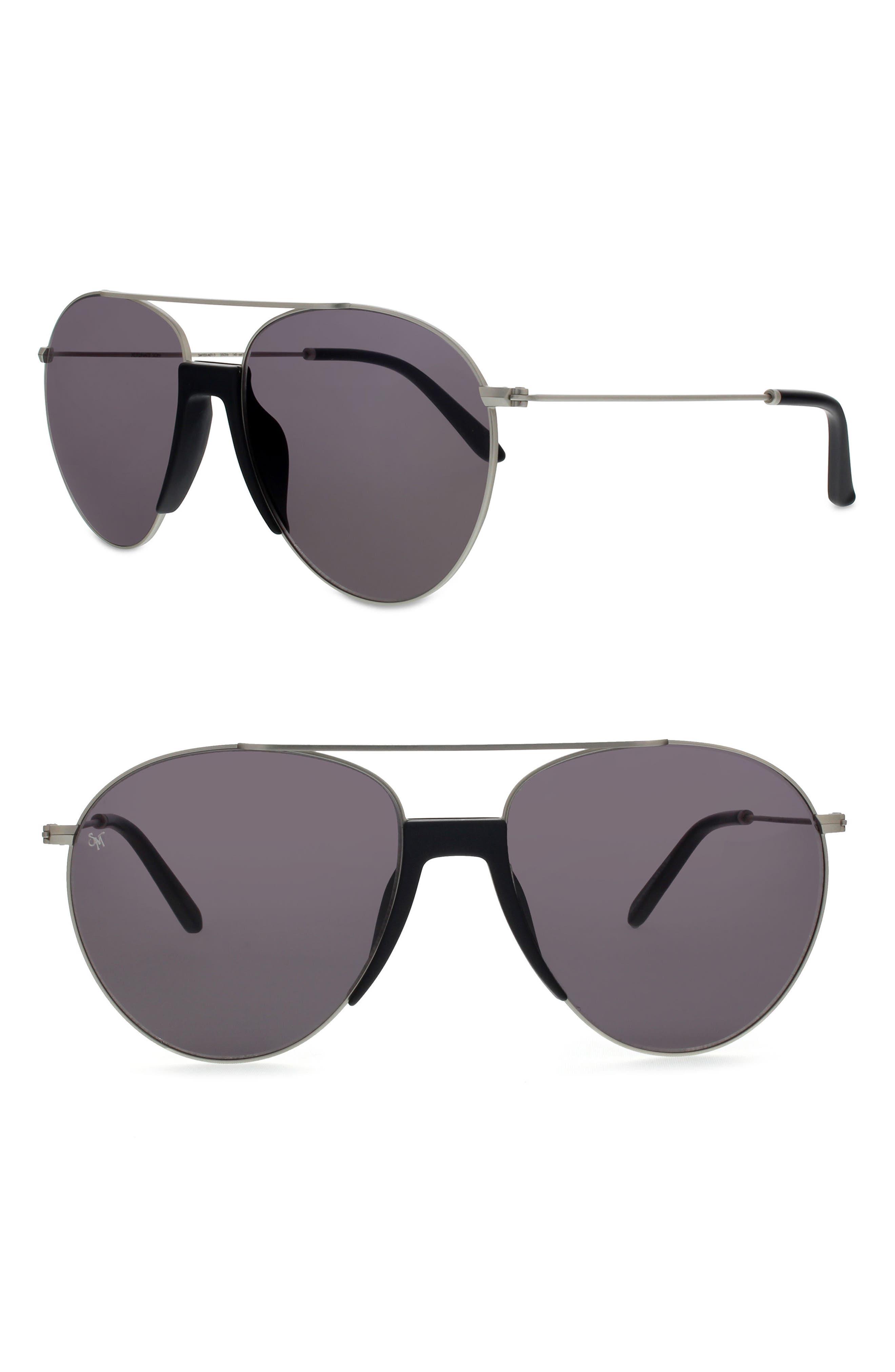 Fortunate Son 55mm Aviator Sunglasses,                         Main,                         color, MATTE BLACK/ MATTE SILVER