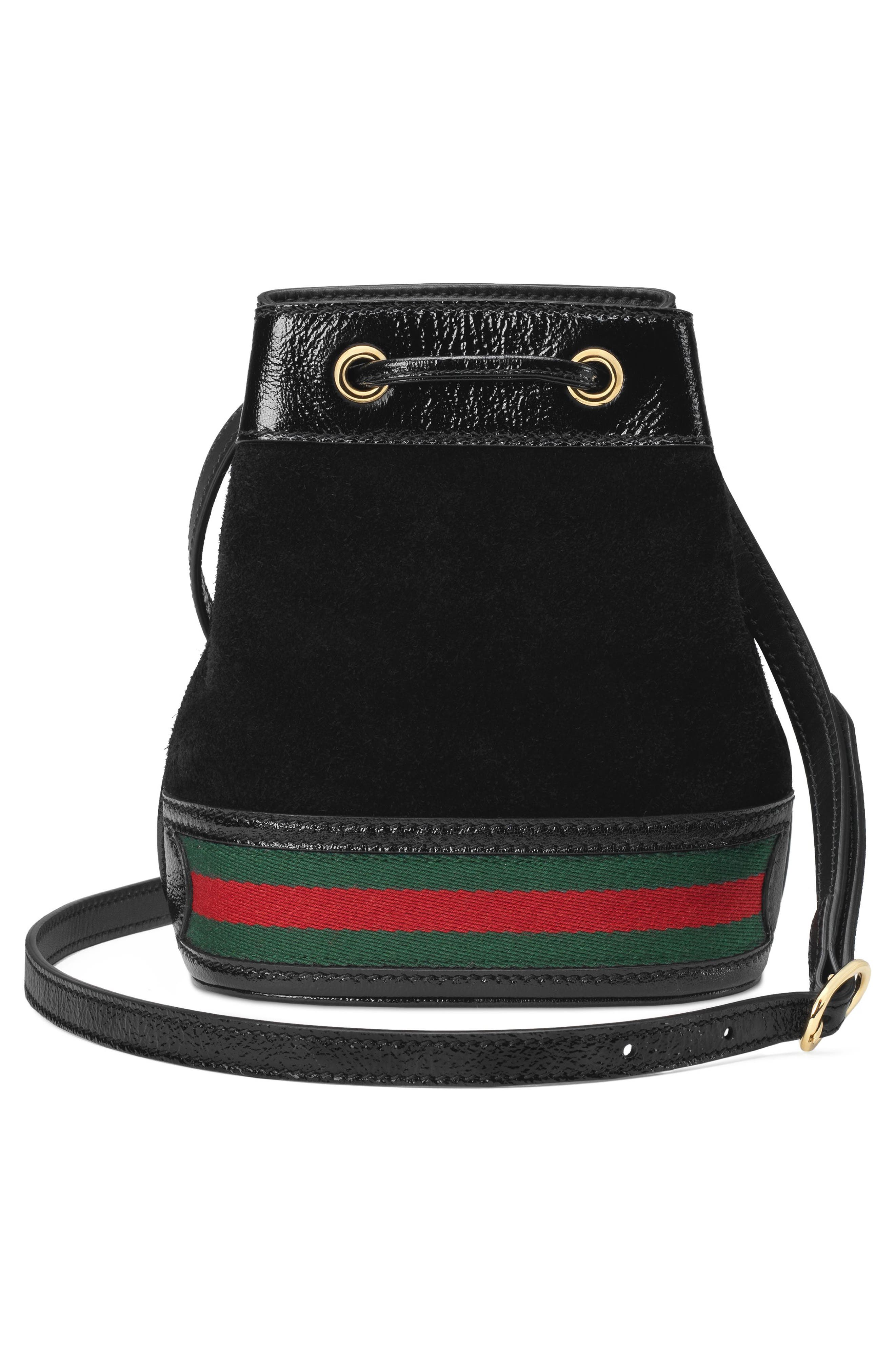 Mini Ophidia Suede & Leather Bucket Bag,                             Alternate thumbnail 2, color,                             NERO/ VERT/ RED