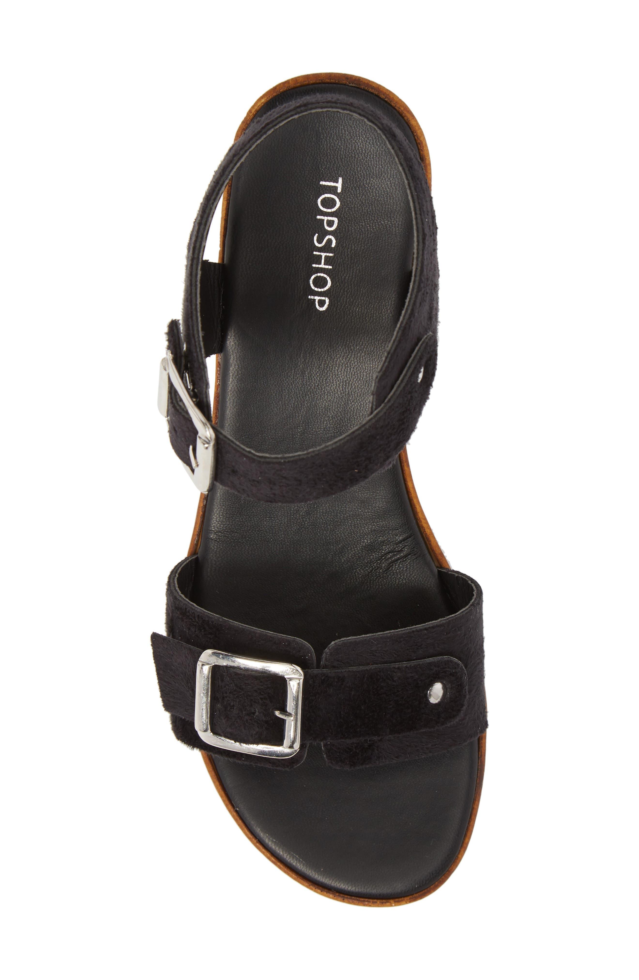 Buckle Platform Sandal,                             Alternate thumbnail 5, color,                             BLACK MULTI