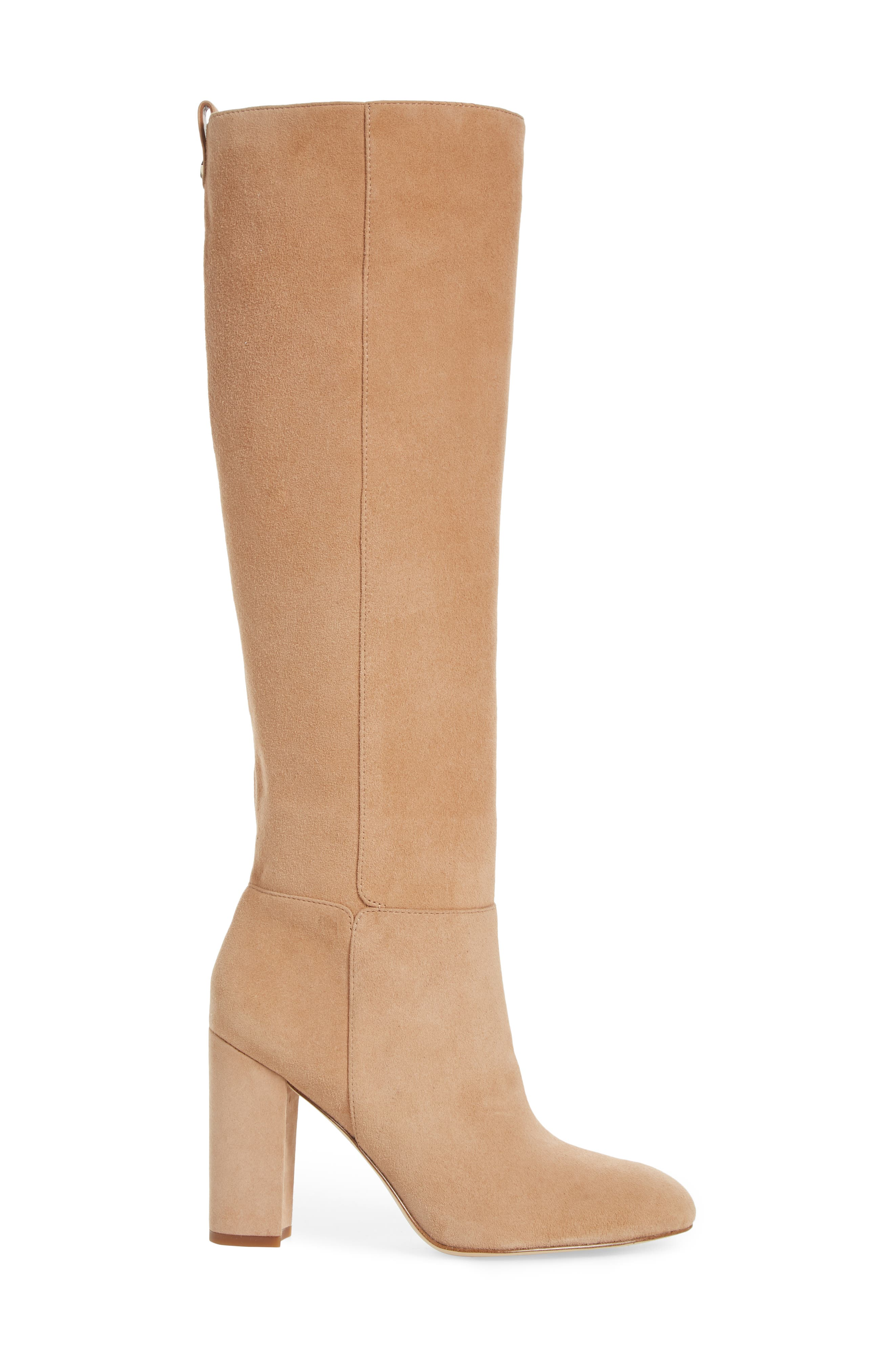 Caprice Knee-High Boot,                             Alternate thumbnail 3, color,                             GOLDEN CARAMEL SUEDE